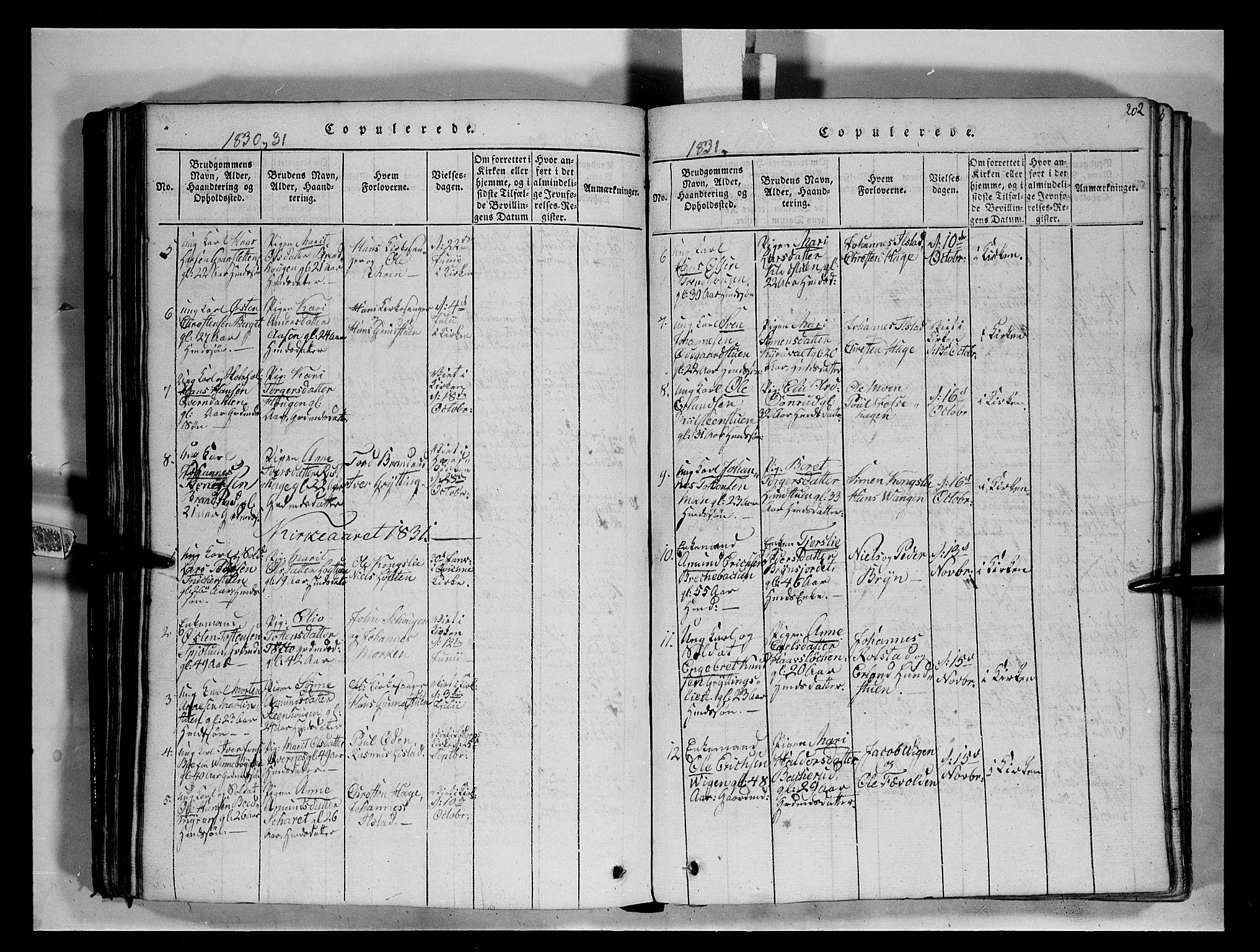 SAH, Fron prestekontor, H/Ha/Hab/L0004: Klokkerbok nr. 4, 1816-1850, s. 202
