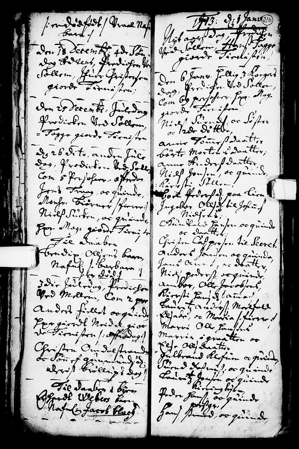 SAKO, Solum kirkebøker, F/Fa/L0001: Ministerialbok nr. I 1, 1701-1716, s. 216