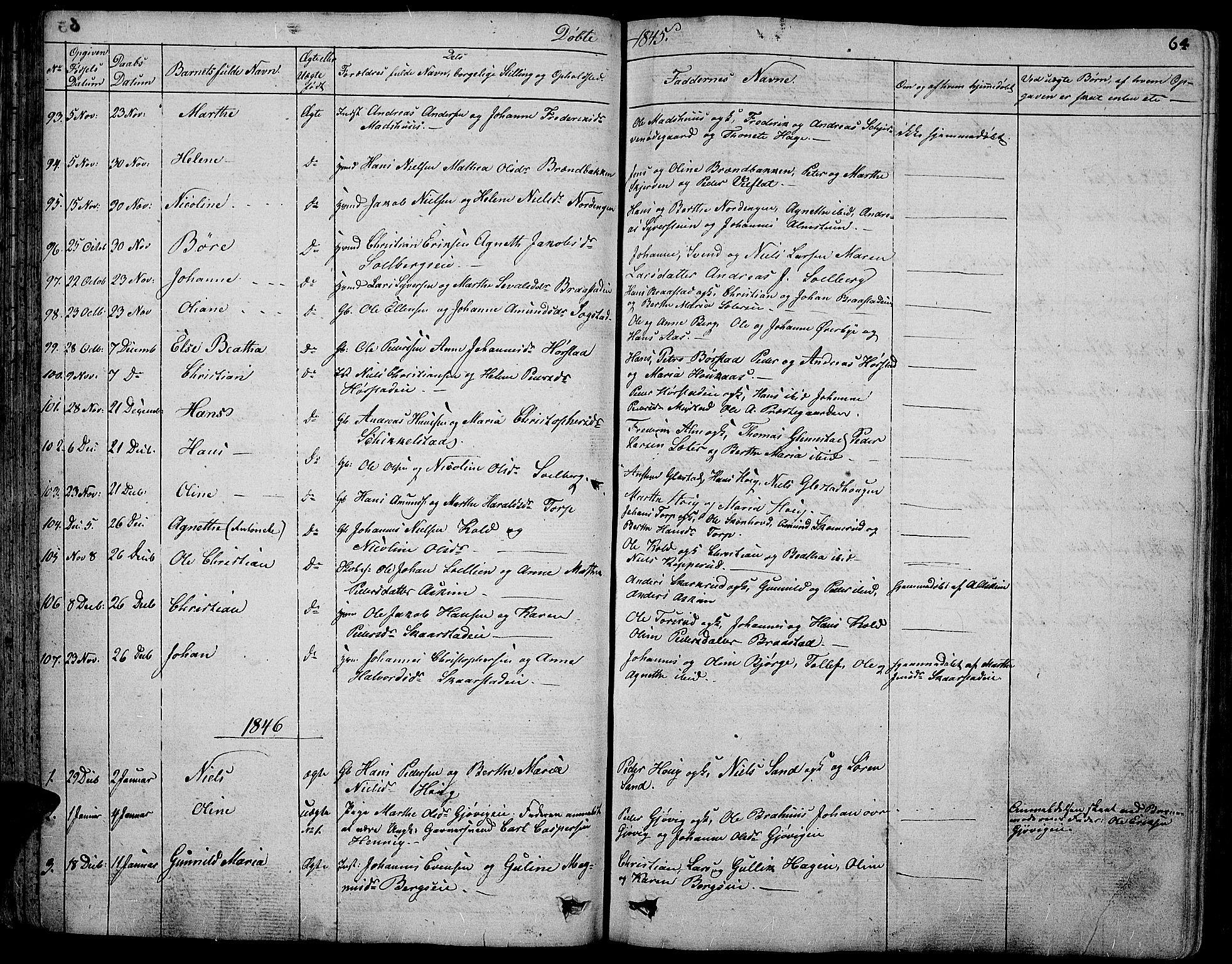 SAH, Vardal prestekontor, H/Ha/Hab/L0004: Klokkerbok nr. 4, 1831-1853, s. 64