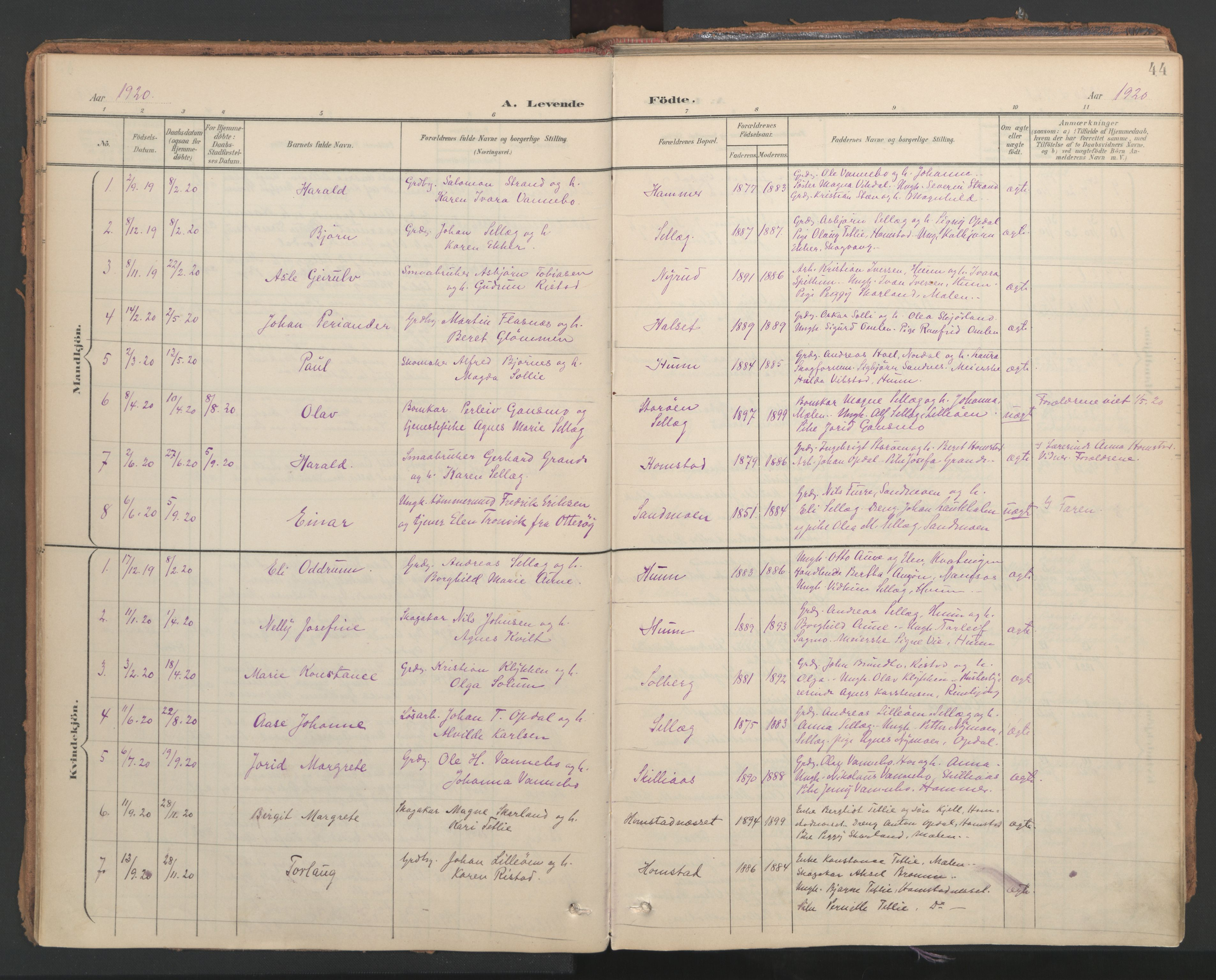 SAT, Ministerialprotokoller, klokkerbøker og fødselsregistre - Nord-Trøndelag, 766/L0564: Ministerialbok nr. 767A02, 1900-1932, s. 44