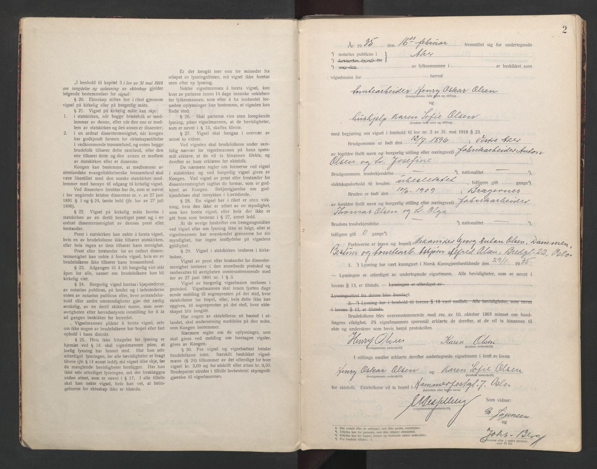 SAO, Aker sorenskriveri, L/Lc/Lcb/L0008: Vigselprotokoll, 1935-1936, s. 2