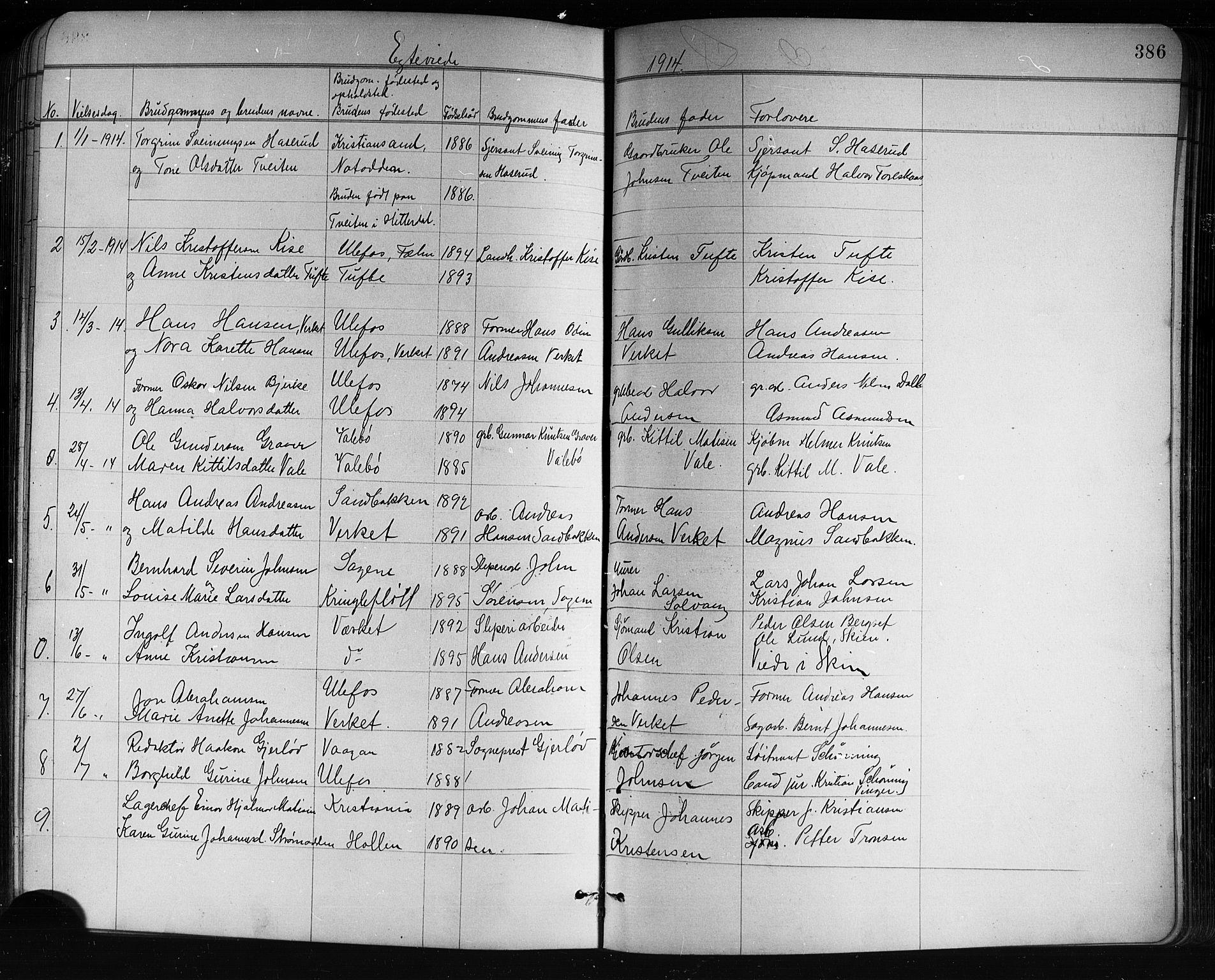 SAKO, Holla kirkebøker, G/Ga/L0005: Klokkerbok nr. I 5, 1891-1917, s. 386