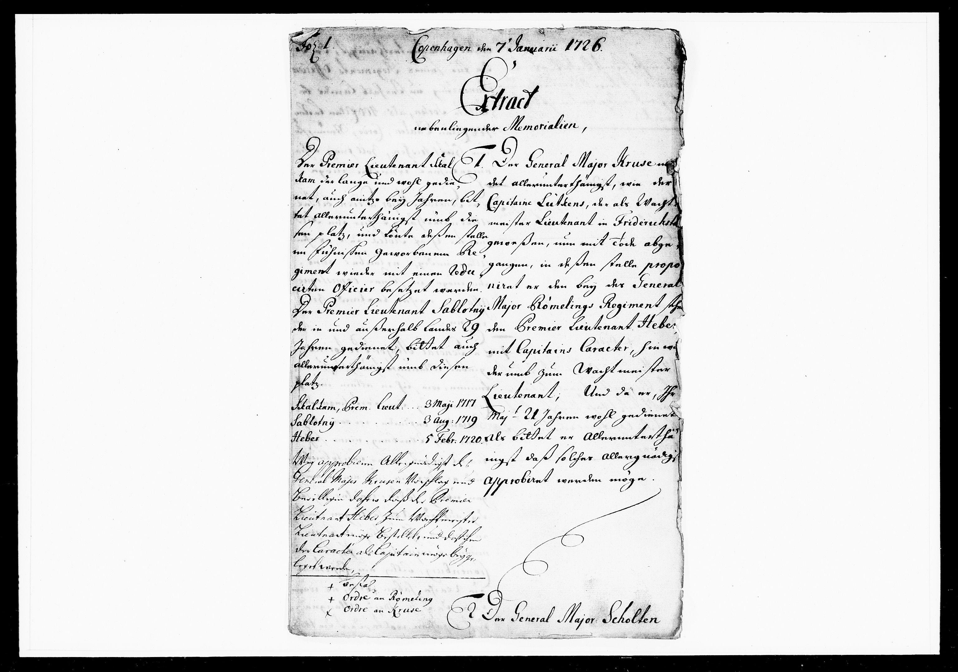DRA, Krigskollegiet, Krigskancelliet, -/1078-1081: Refererede sager, 1726, s. 2