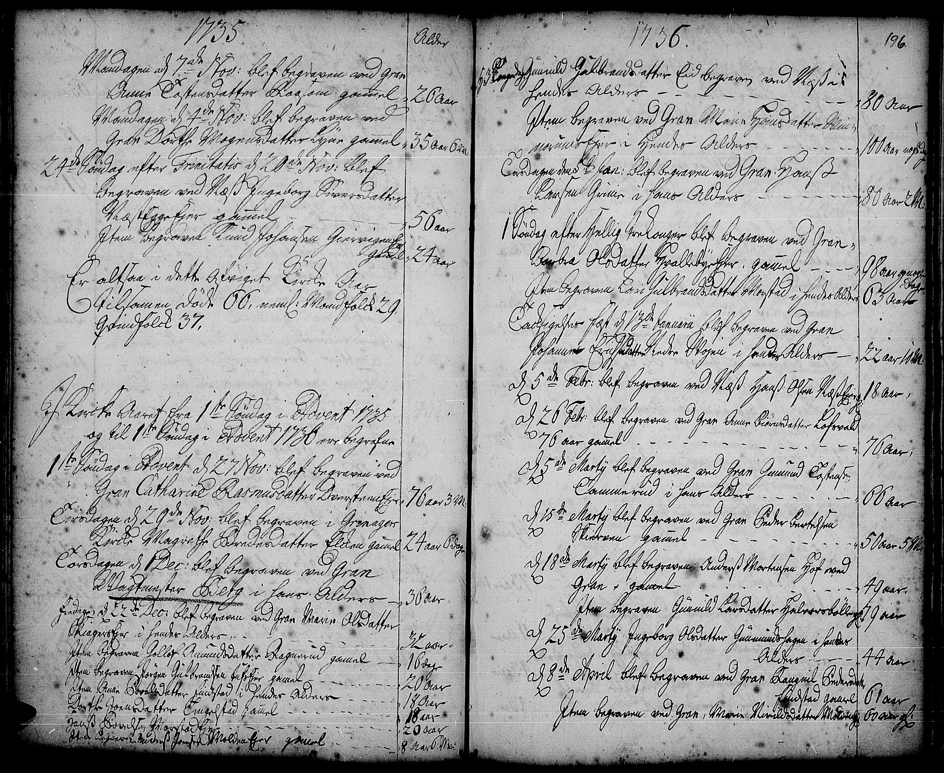 SAH, Gran prestekontor, Ministerialbok nr. 2, 1732-1744, s. 196