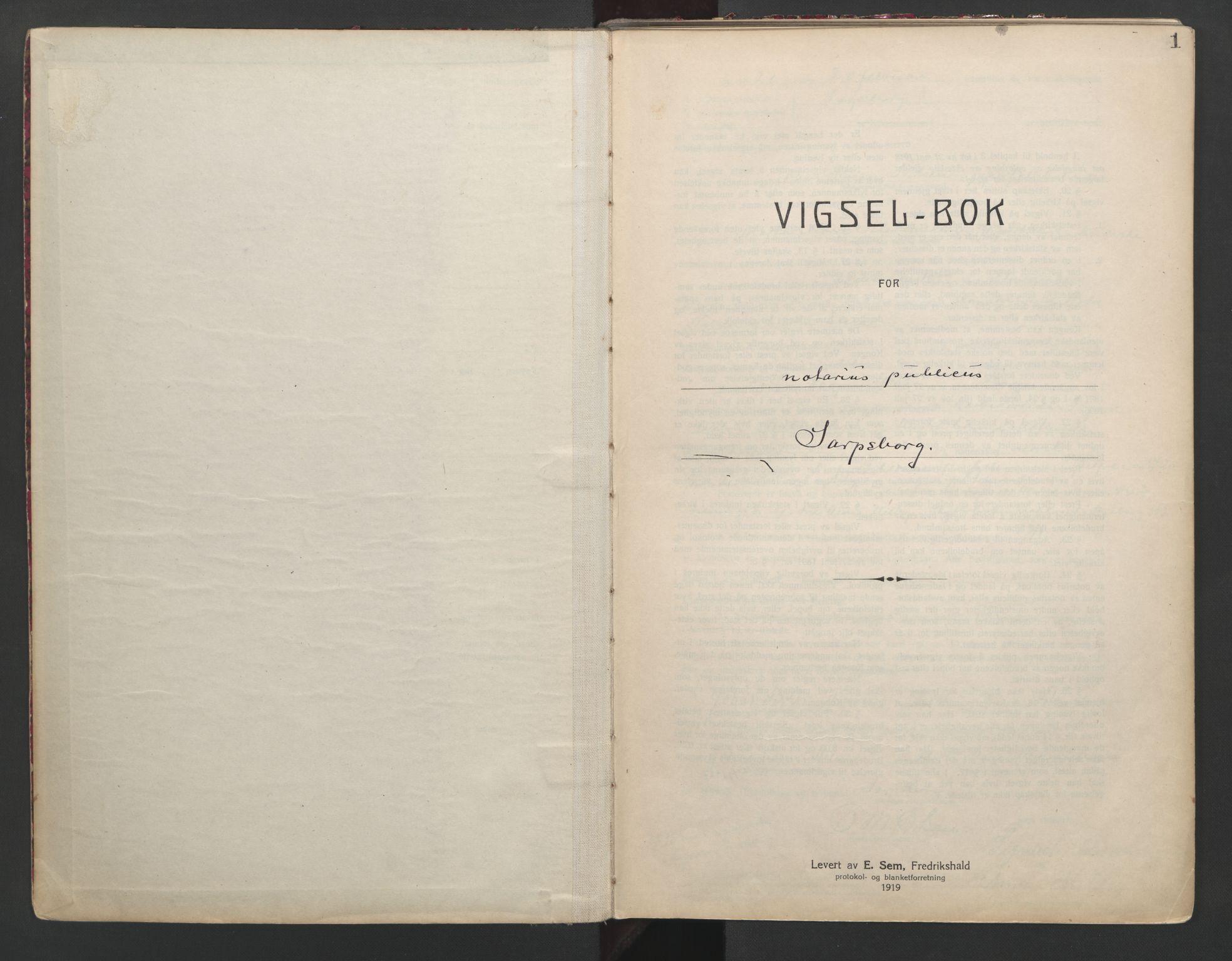 SAO, Sarpsborg byfogd, L/Lb/Lba/L0001: Vigselbok, 1920-1941, s. 1