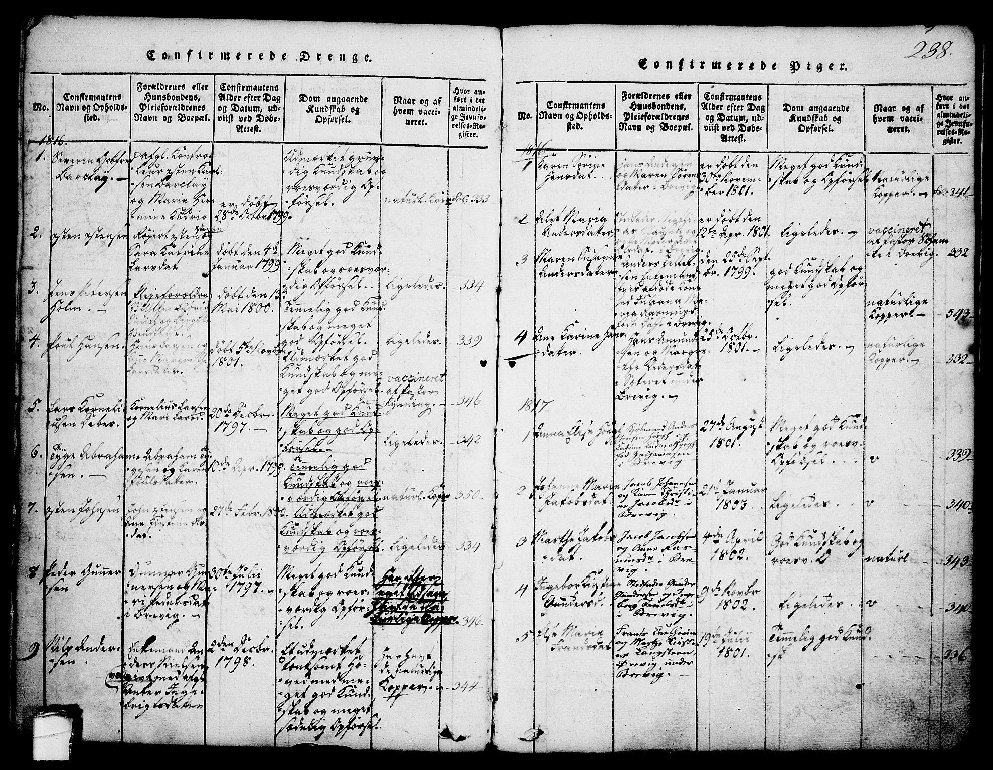 SAKO, Brevik kirkebøker, G/Ga/L0001: Klokkerbok nr. 1, 1814-1845, s. 238