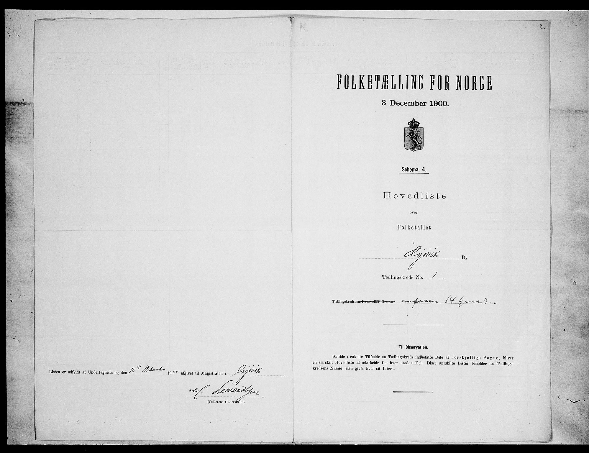 SAH, Folketelling 1900 for 0502 Gjøvik kjøpstad, 1900, s. 15