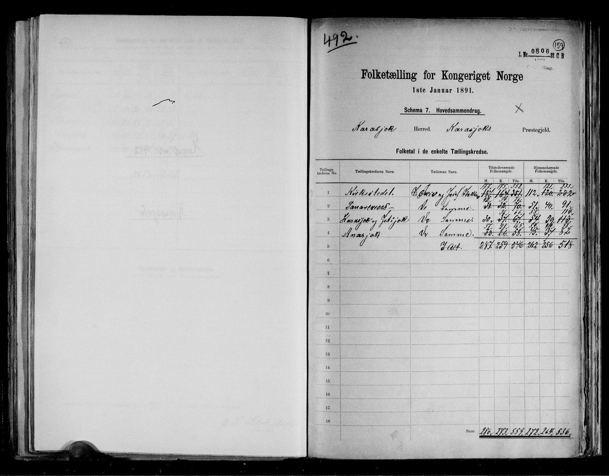 RA, Folketelling 1891 for 2021 Karasjok herred, 1891, s. 2