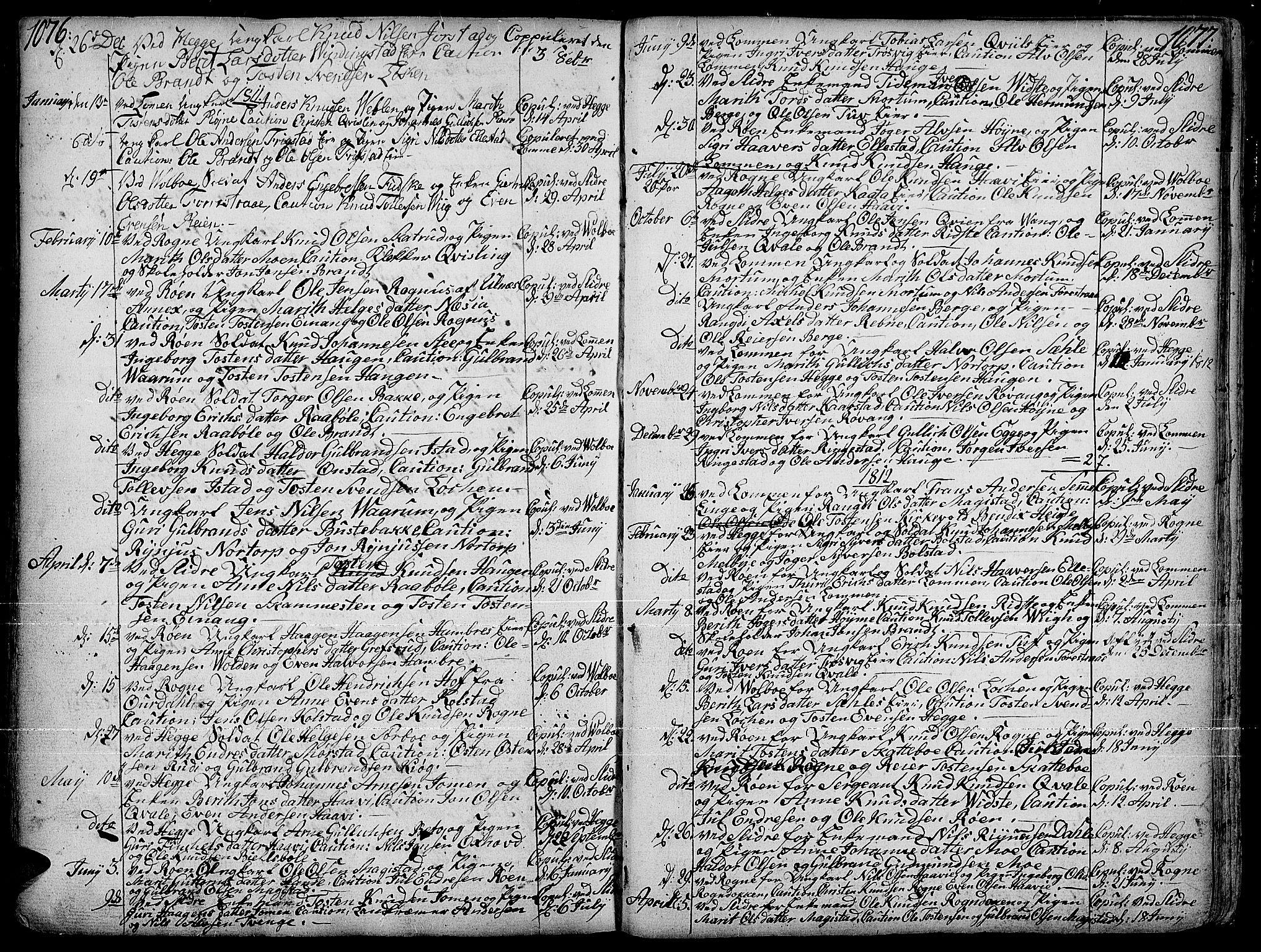 SAH, Slidre prestekontor, Ministerialbok nr. 1, 1724-1814, s. 1076-1077