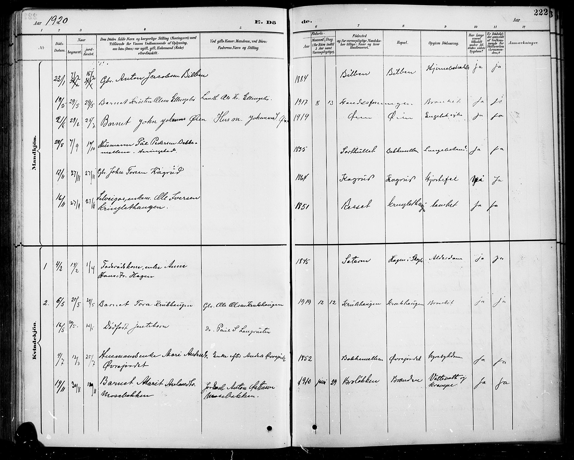 SAH, Sel prestekontor, Klokkerbok nr. 5, 1894-1923, s. 222