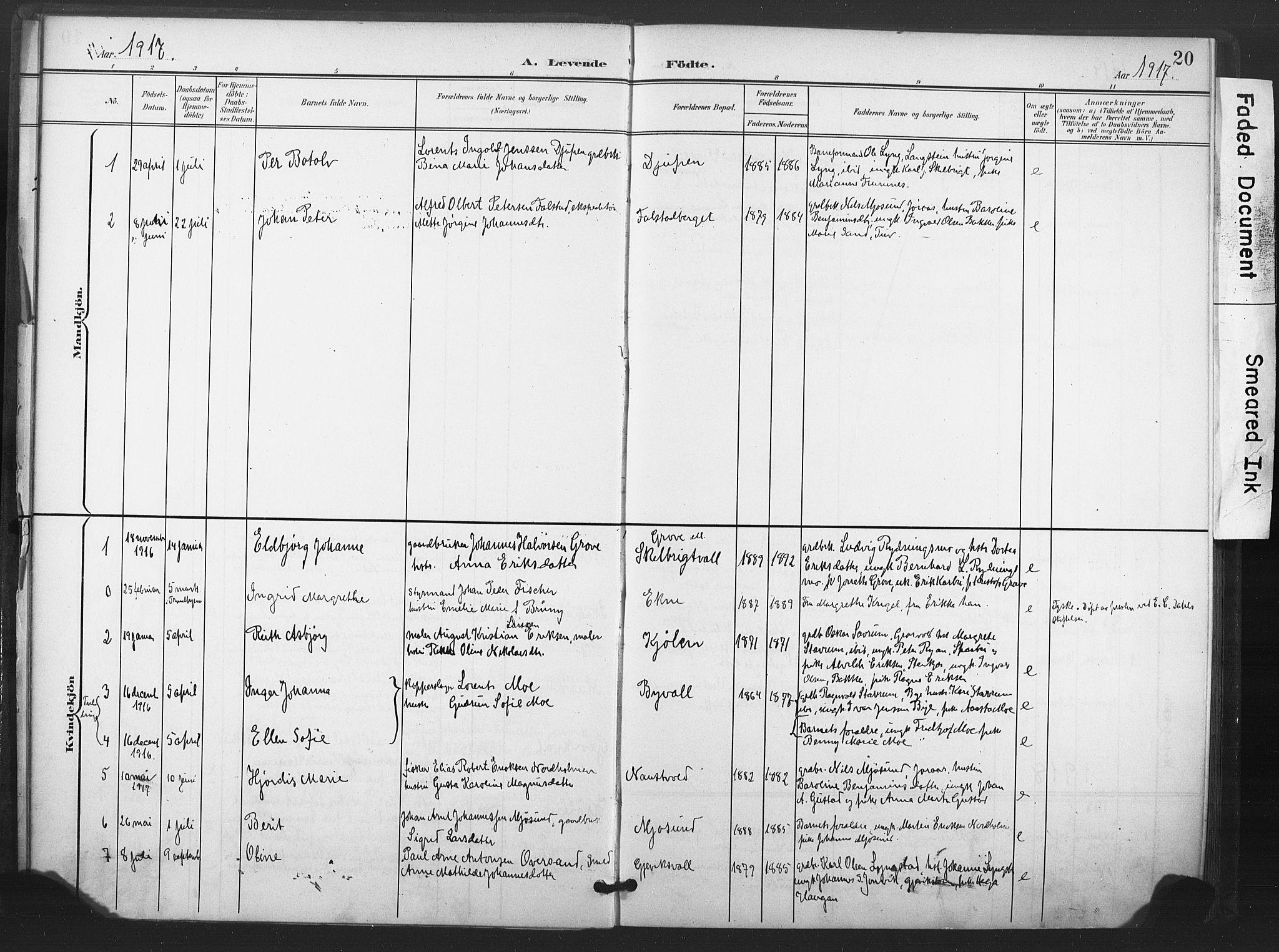 SAT, Ministerialprotokoller, klokkerbøker og fødselsregistre - Nord-Trøndelag, 719/L0179: Ministerialbok nr. 719A02, 1901-1923, s. 20