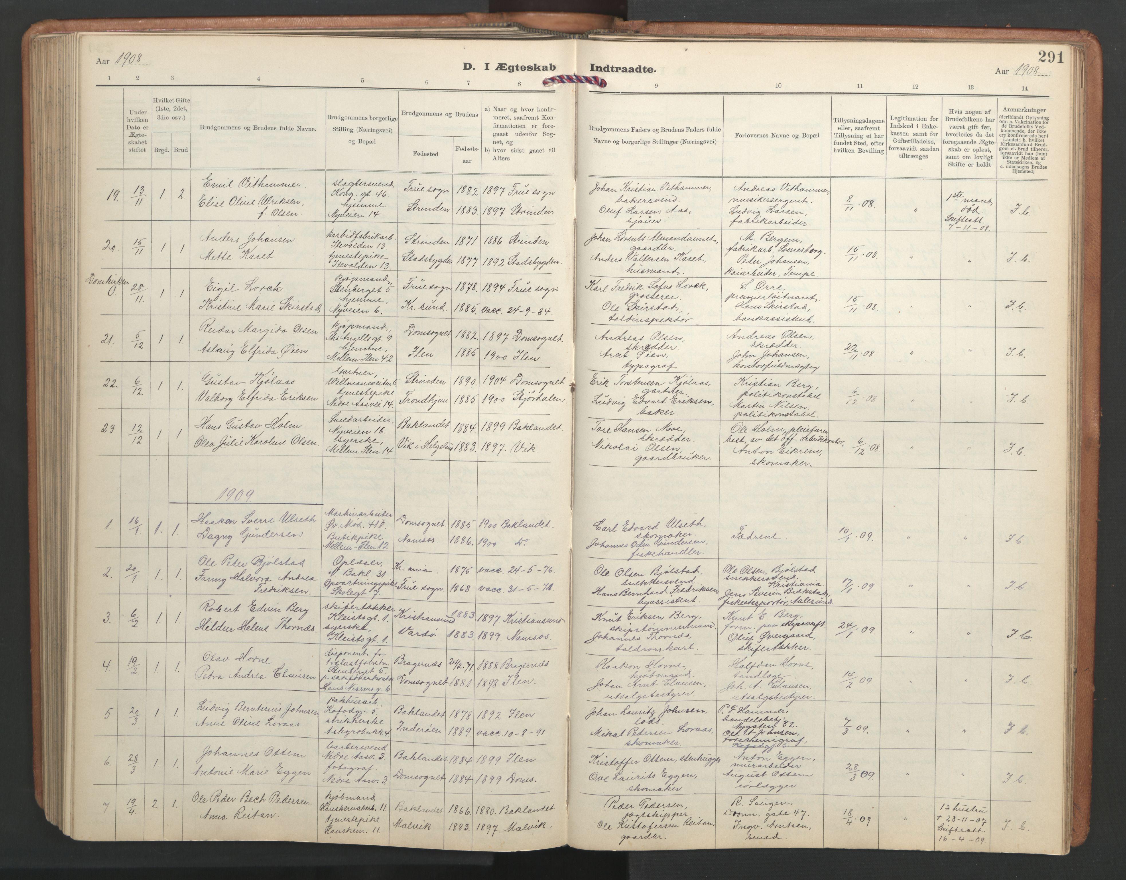 SAT, Ministerialprotokoller, klokkerbøker og fødselsregistre - Sør-Trøndelag, 603/L0173: Klokkerbok nr. 603C01, 1907-1962, s. 291