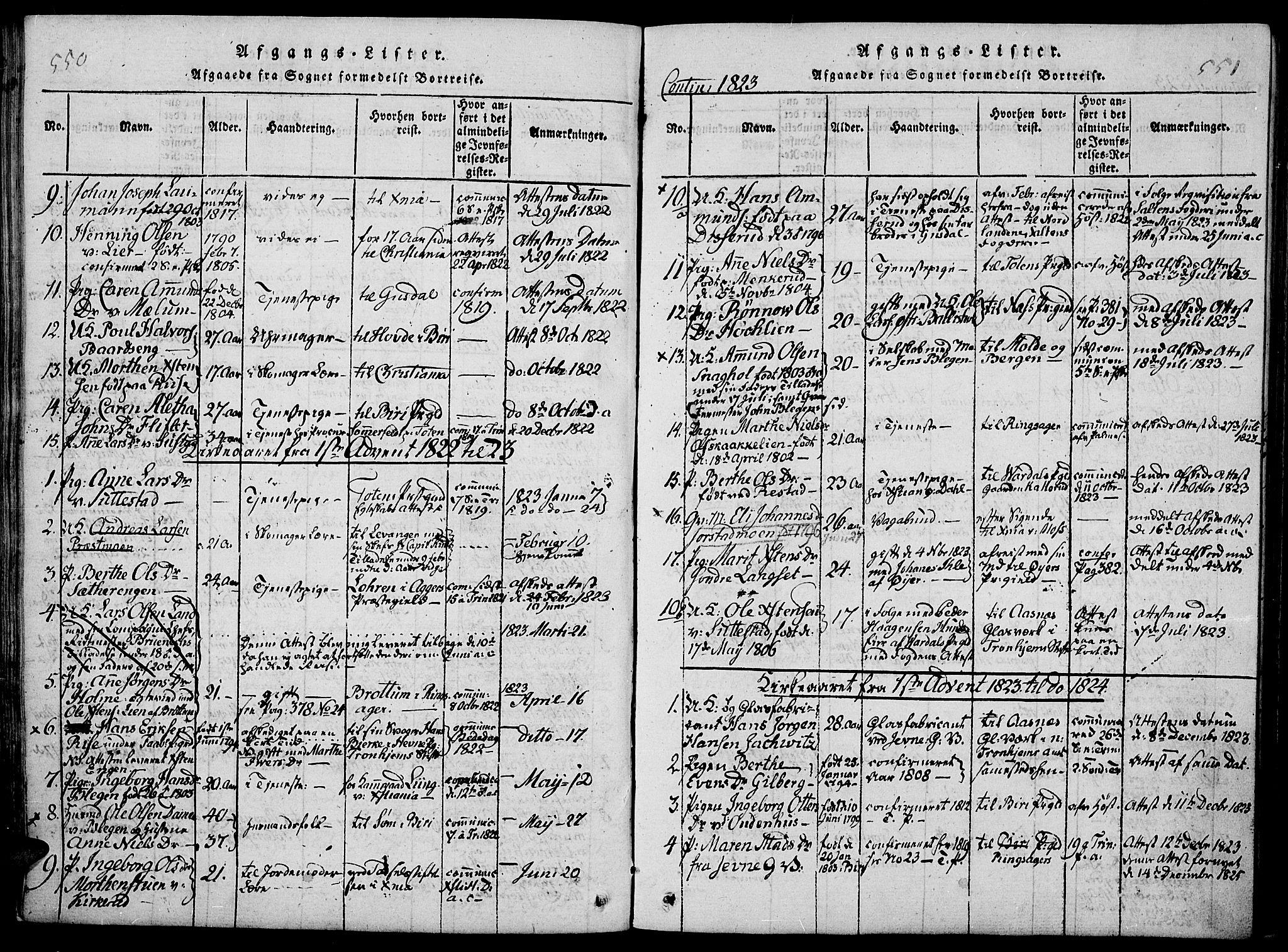 SAH, Fåberg prestekontor, Ministerialbok nr. 3, 1818-1833, s. 550-551