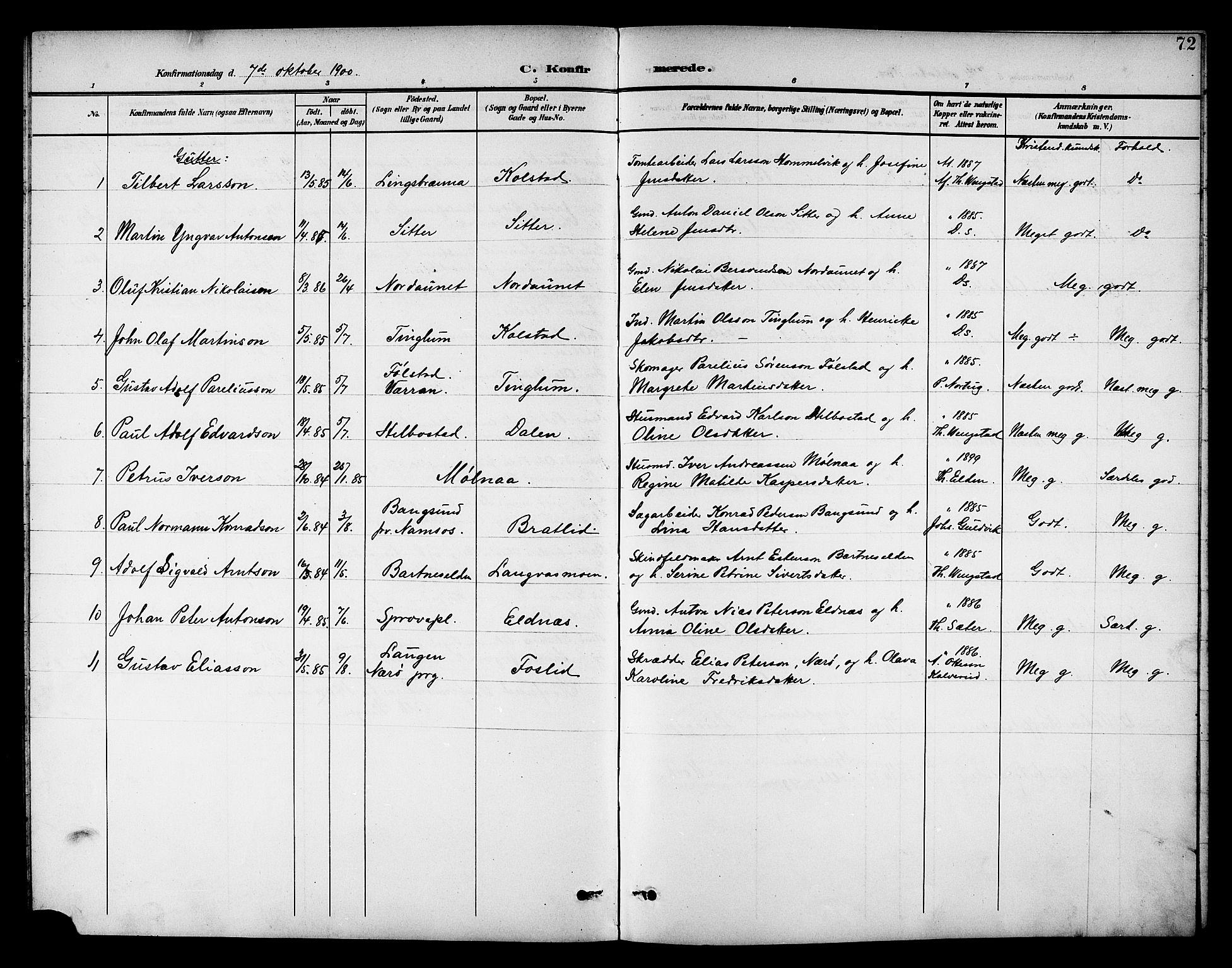 SAT, Ministerialprotokoller, klokkerbøker og fødselsregistre - Nord-Trøndelag, 742/L0412: Klokkerbok nr. 742C03, 1898-1910, s. 72