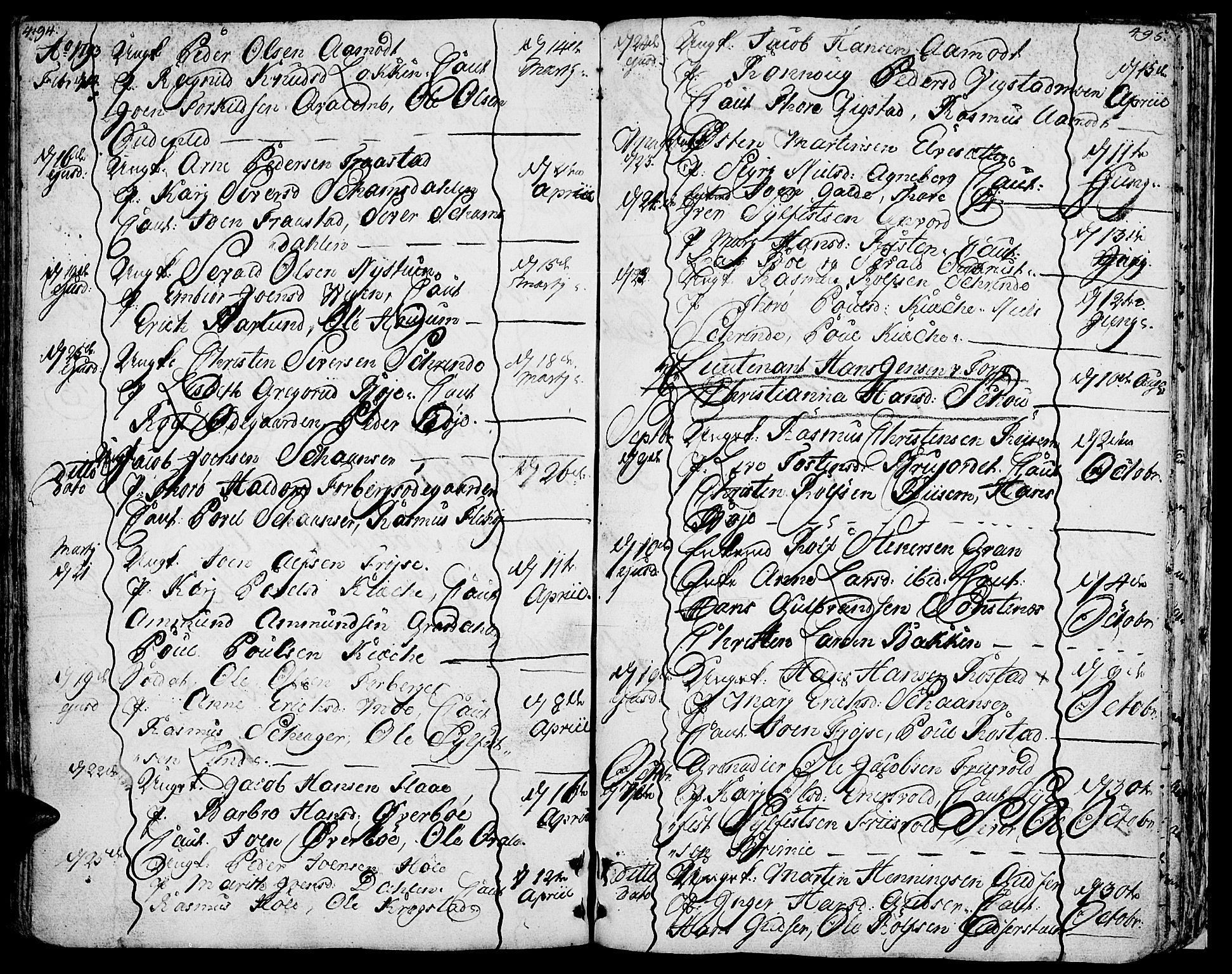 SAH, Lom prestekontor, K/L0002: Ministerialbok nr. 2, 1749-1801, s. 494-495