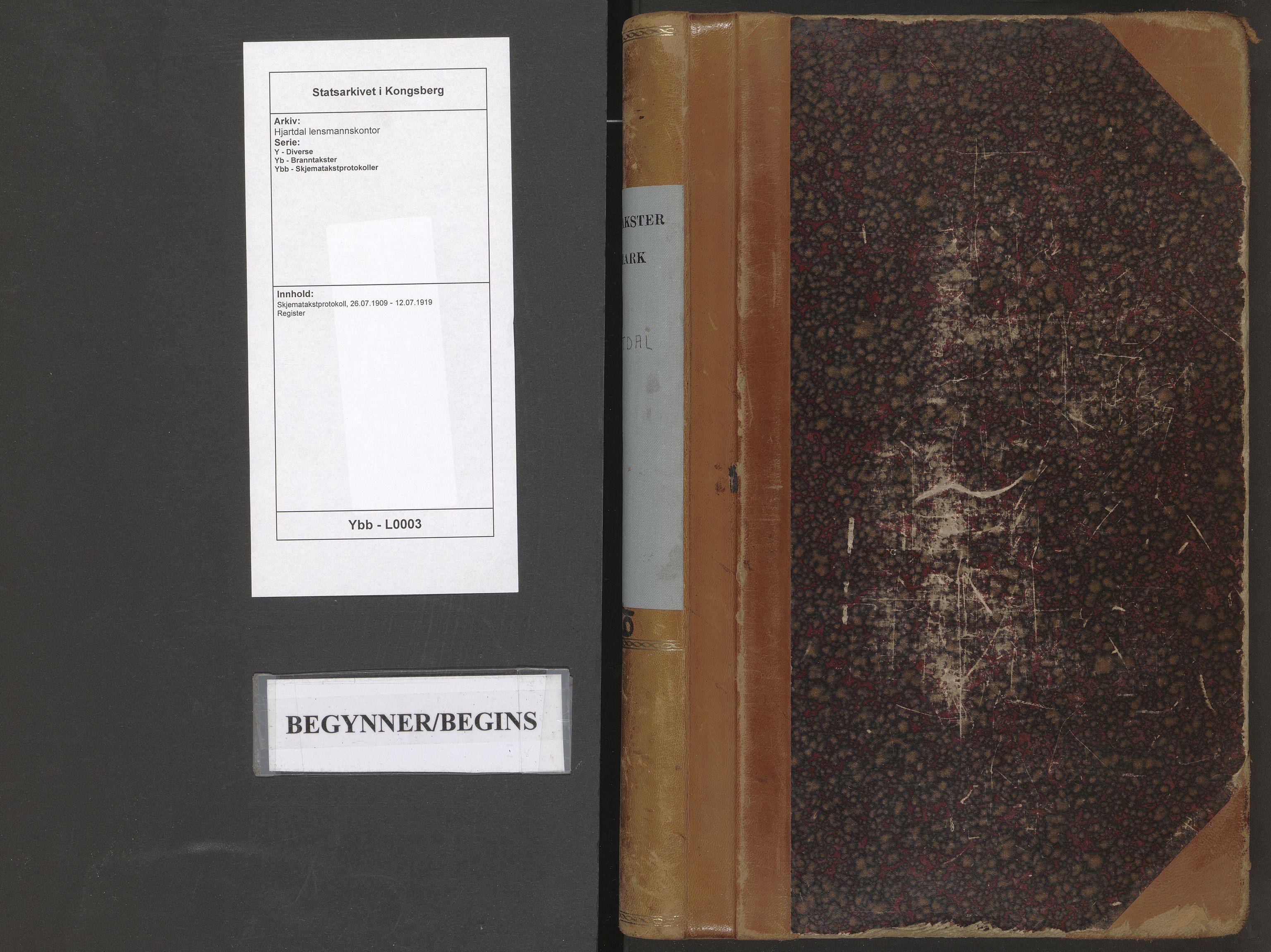 SAKO, Hjartdal lensmannskontor, Y/Yb/Ybb/L0003: Skjematakstprotokoll, 1909-1919