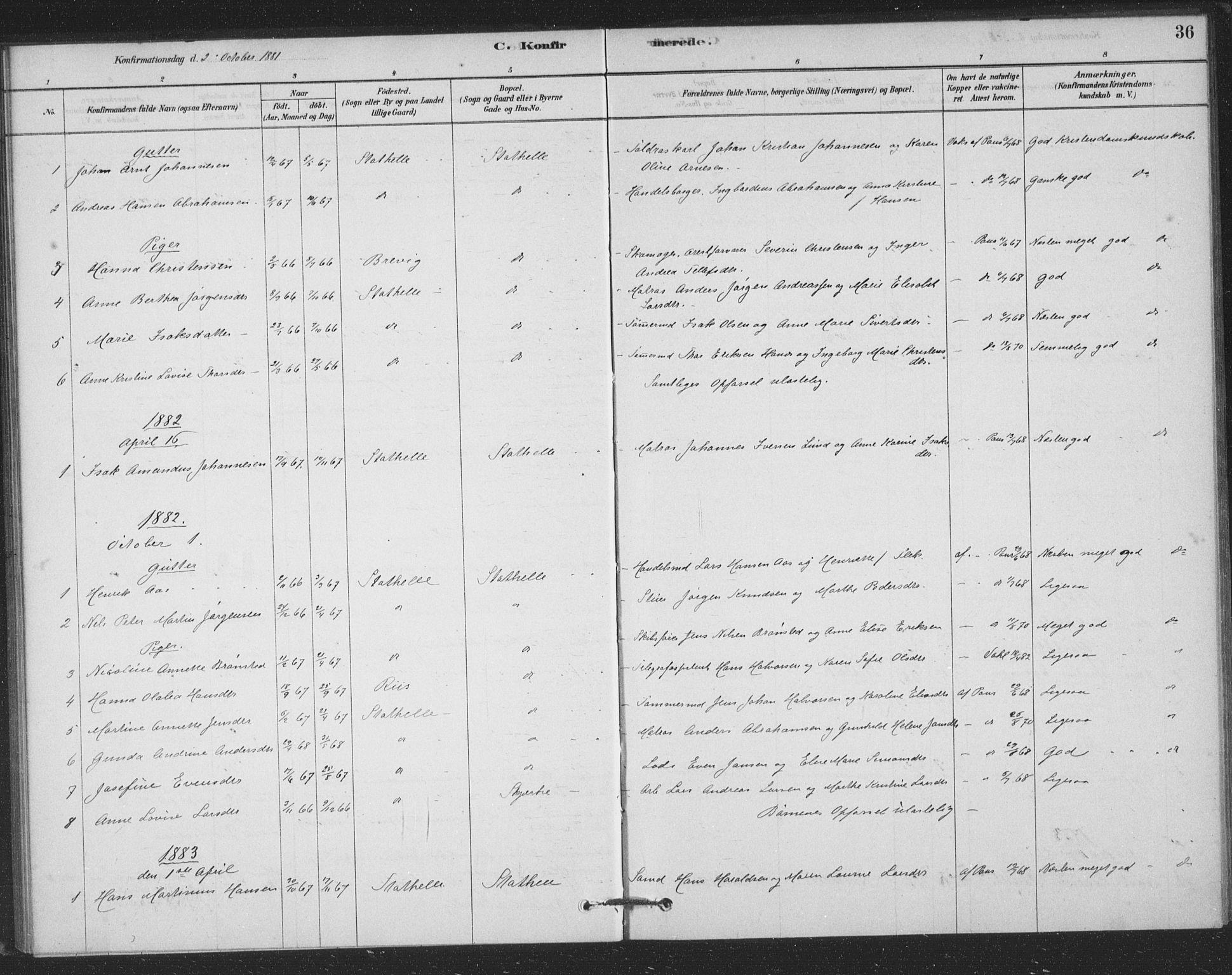 SAKO, Bamble kirkebøker, F/Fb/L0001: Ministerialbok nr. II 1, 1878-1899, s. 36