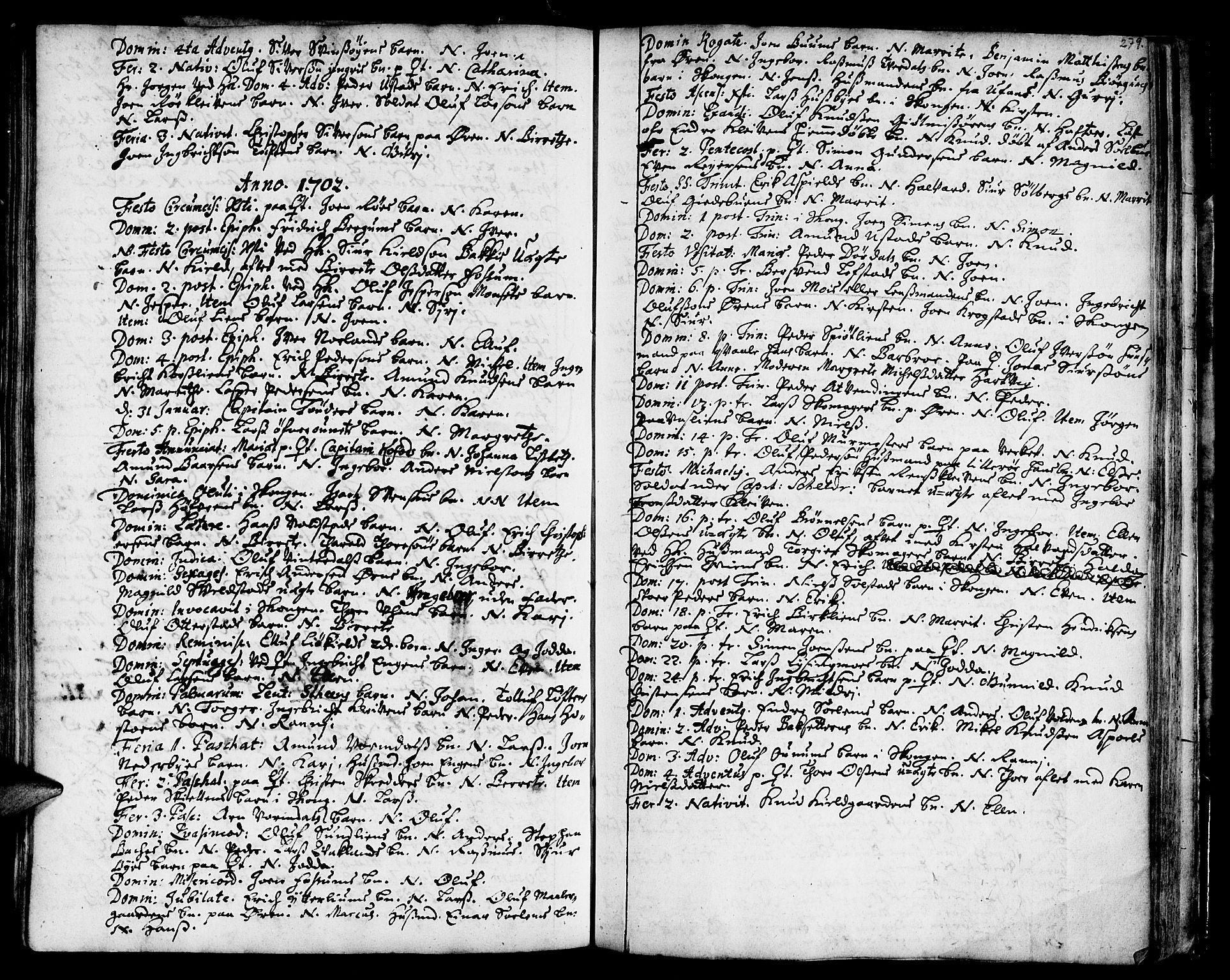 SAT, Ministerialprotokoller, klokkerbøker og fødselsregistre - Sør-Trøndelag, 668/L0801: Ministerialbok nr. 668A01, 1695-1716, s. 278-279