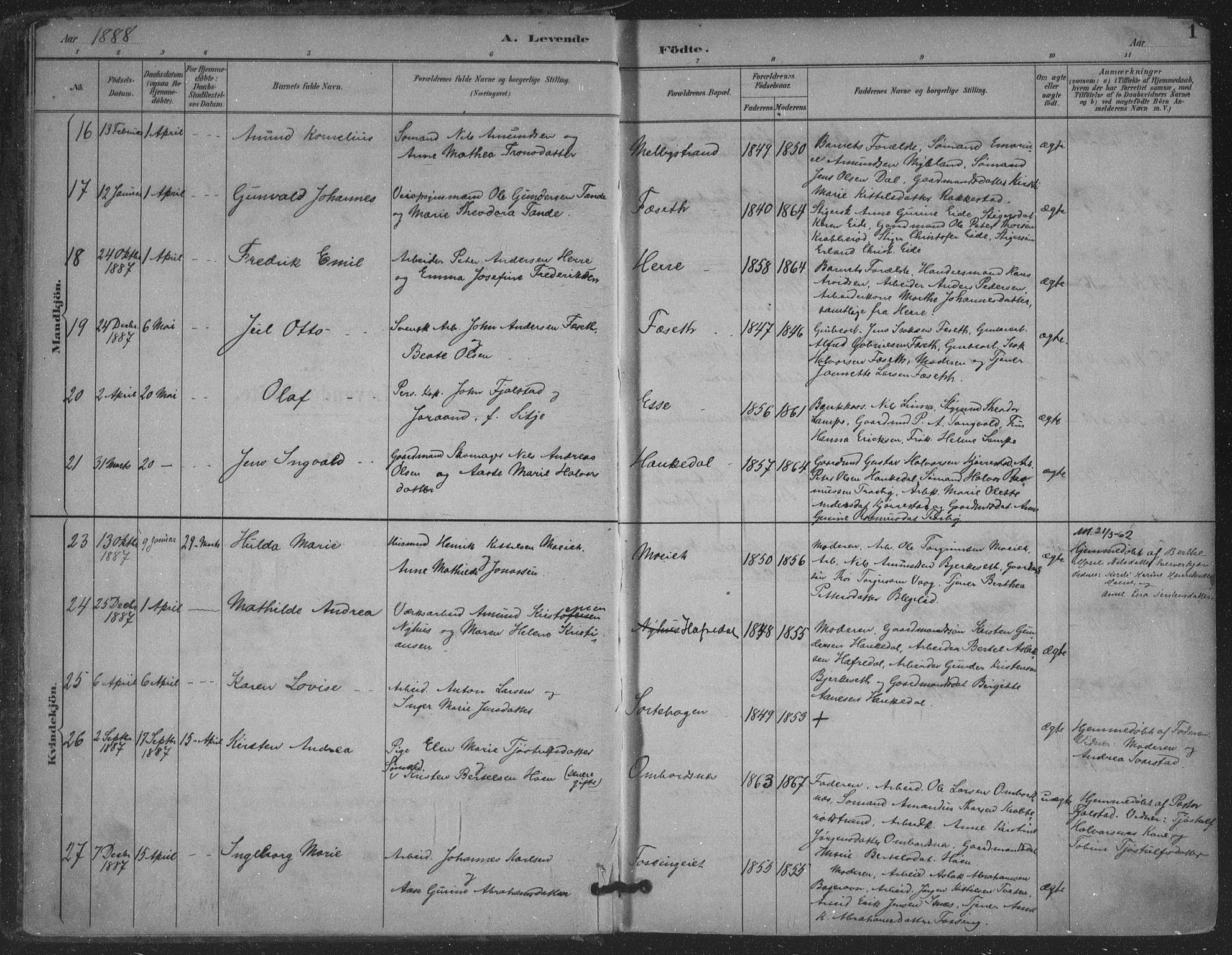SAKO, Bamble kirkebøker, F/Fa/L0008: Ministerialbok nr. I 8, 1888-1900, s. 1