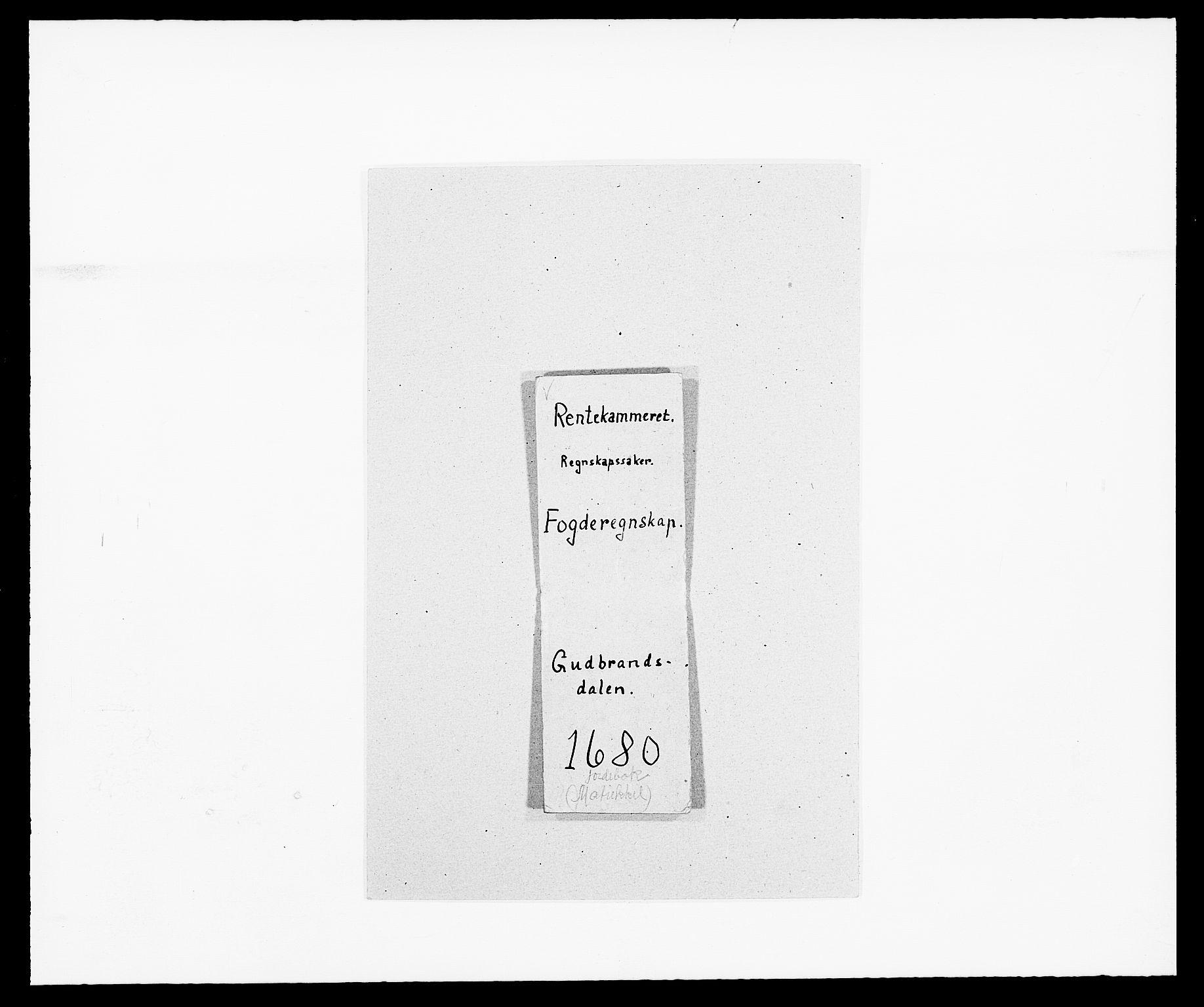 RA, Rentekammeret inntil 1814, Reviderte regnskaper, Fogderegnskap, R17/L1154: Fogderegnskap Gudbrandsdal, 1680, s. 1