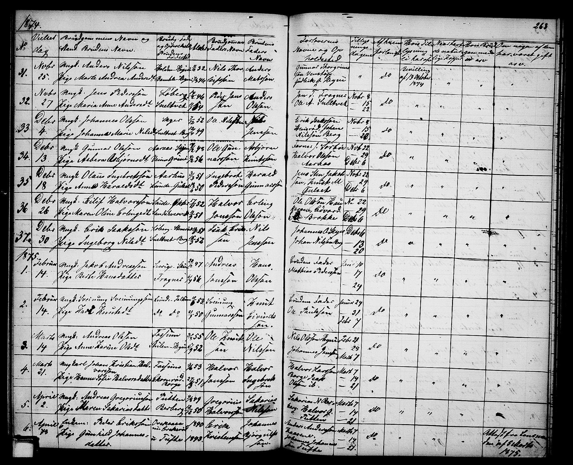SAKO, Gjerpen kirkebøker, G/Ga/L0001: Klokkerbok nr. I 1, 1864-1882, s. 263
