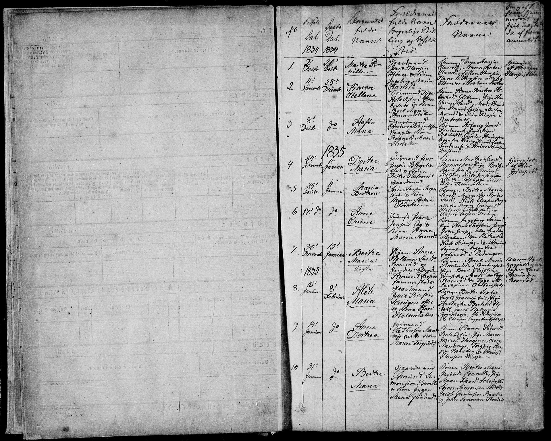 SAKO, Bamble kirkebøker, F/Fa/L0004: Ministerialbok nr. I 4, 1834-1853, s. 0-1