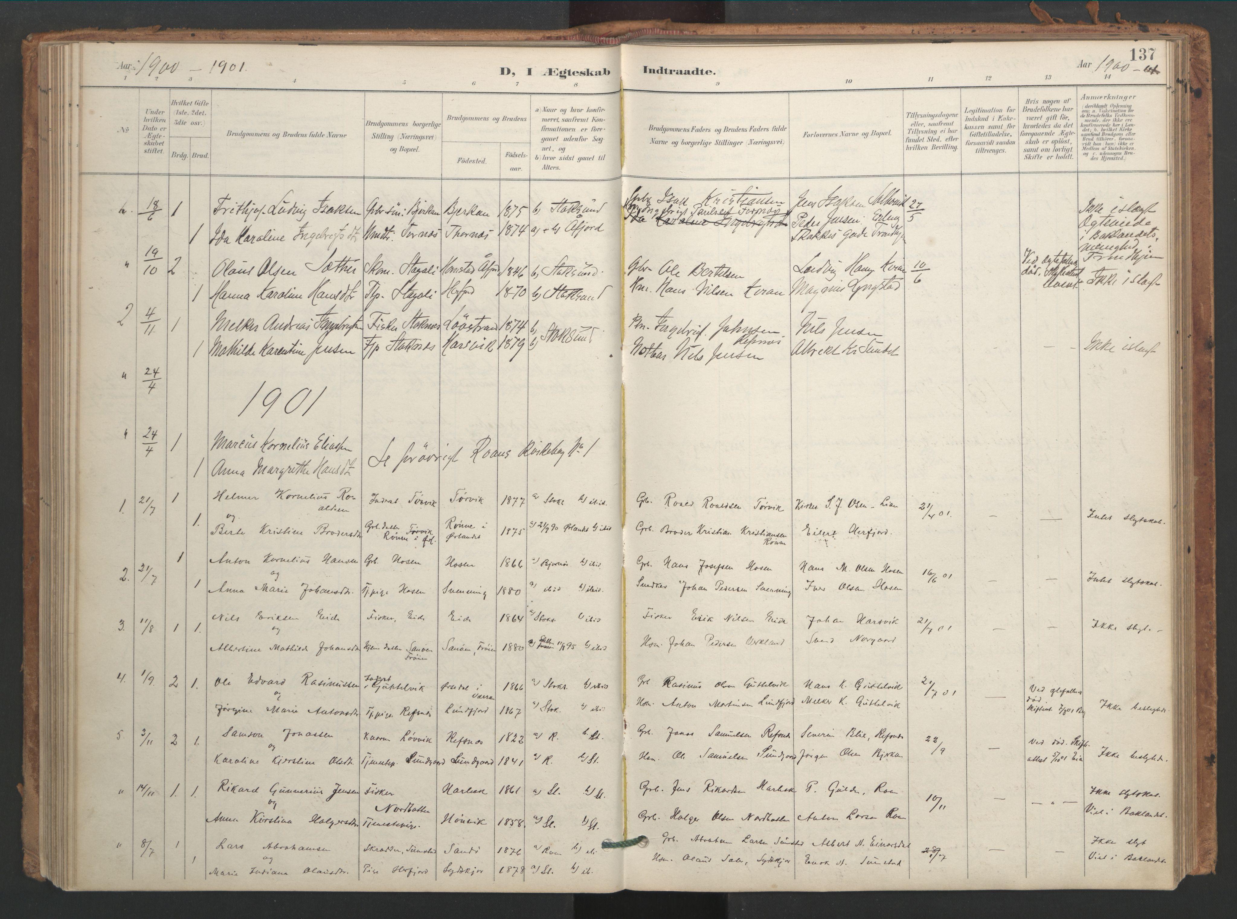 SAT, Ministerialprotokoller, klokkerbøker og fødselsregistre - Sør-Trøndelag, 656/L0693: Ministerialbok nr. 656A02, 1894-1913, s. 137