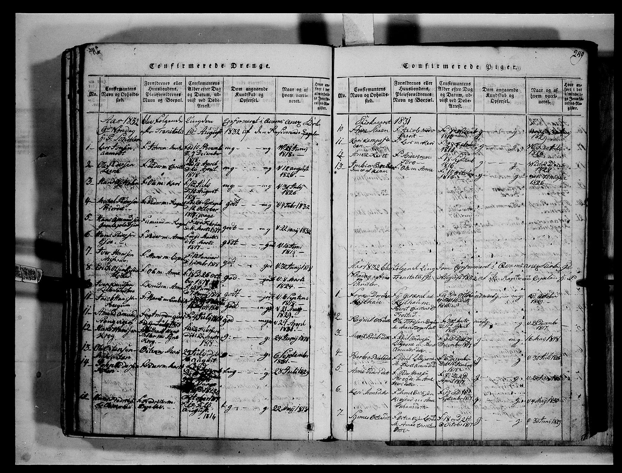 SAH, Fron prestekontor, H/Ha/Hab/L0002: Klokkerbok nr. 2, 1816-1850, s. 249