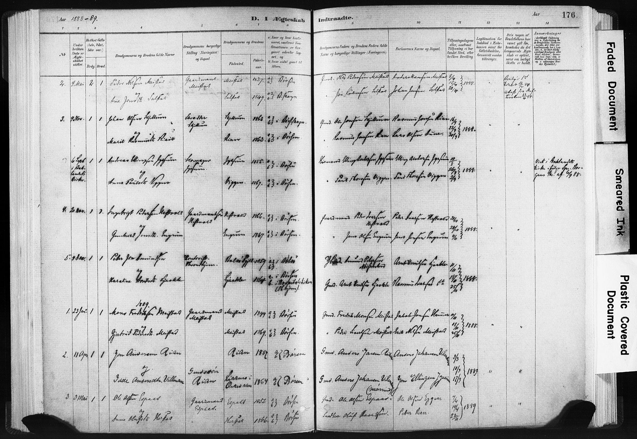 SAT, Ministerialprotokoller, klokkerbøker og fødselsregistre - Sør-Trøndelag, 665/L0773: Ministerialbok nr. 665A08, 1879-1905, s. 176