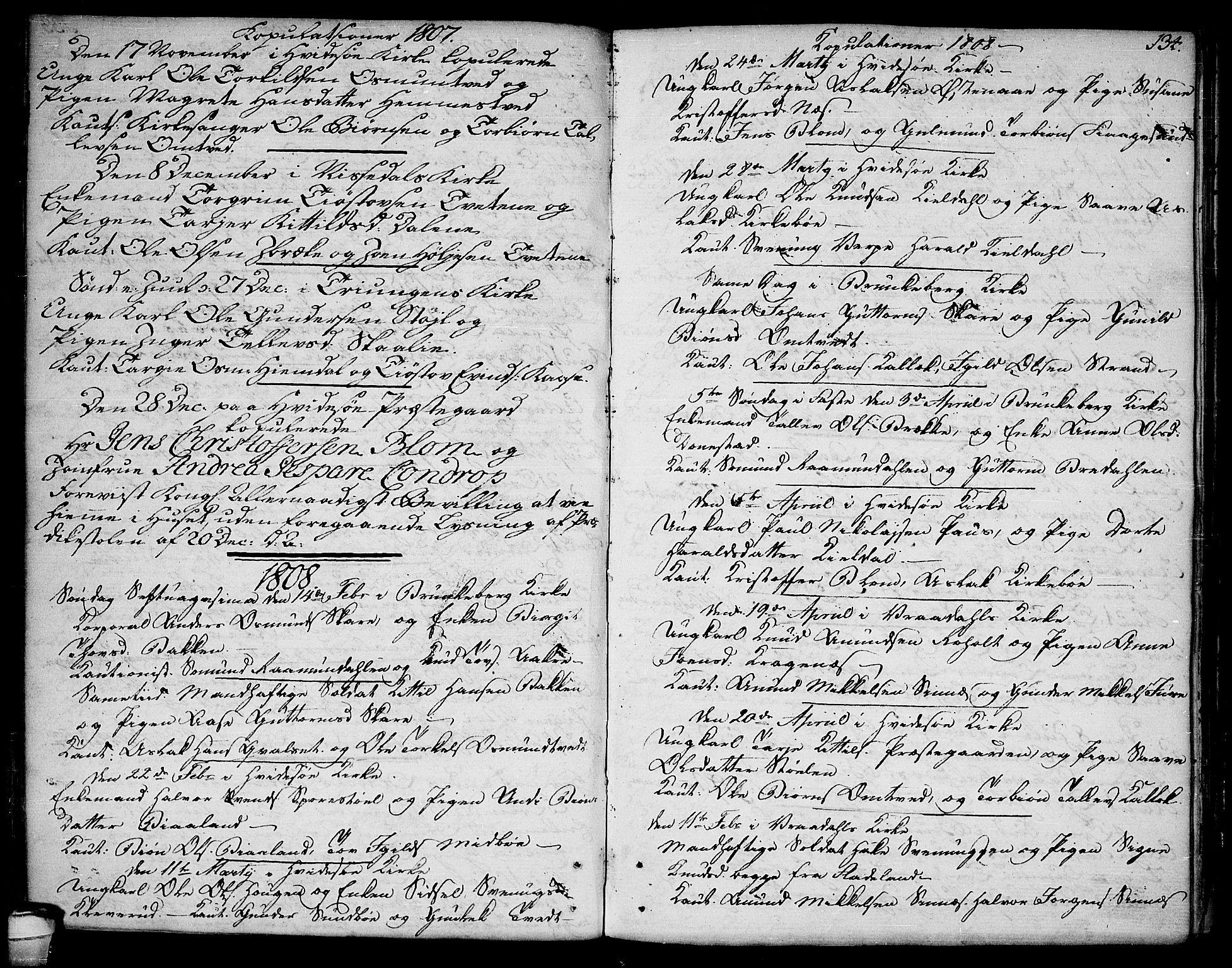 SAKO, Kviteseid kirkebøker, F/Fa/L0004: Ministerialbok nr. I 4, 1800-1814, s. 134