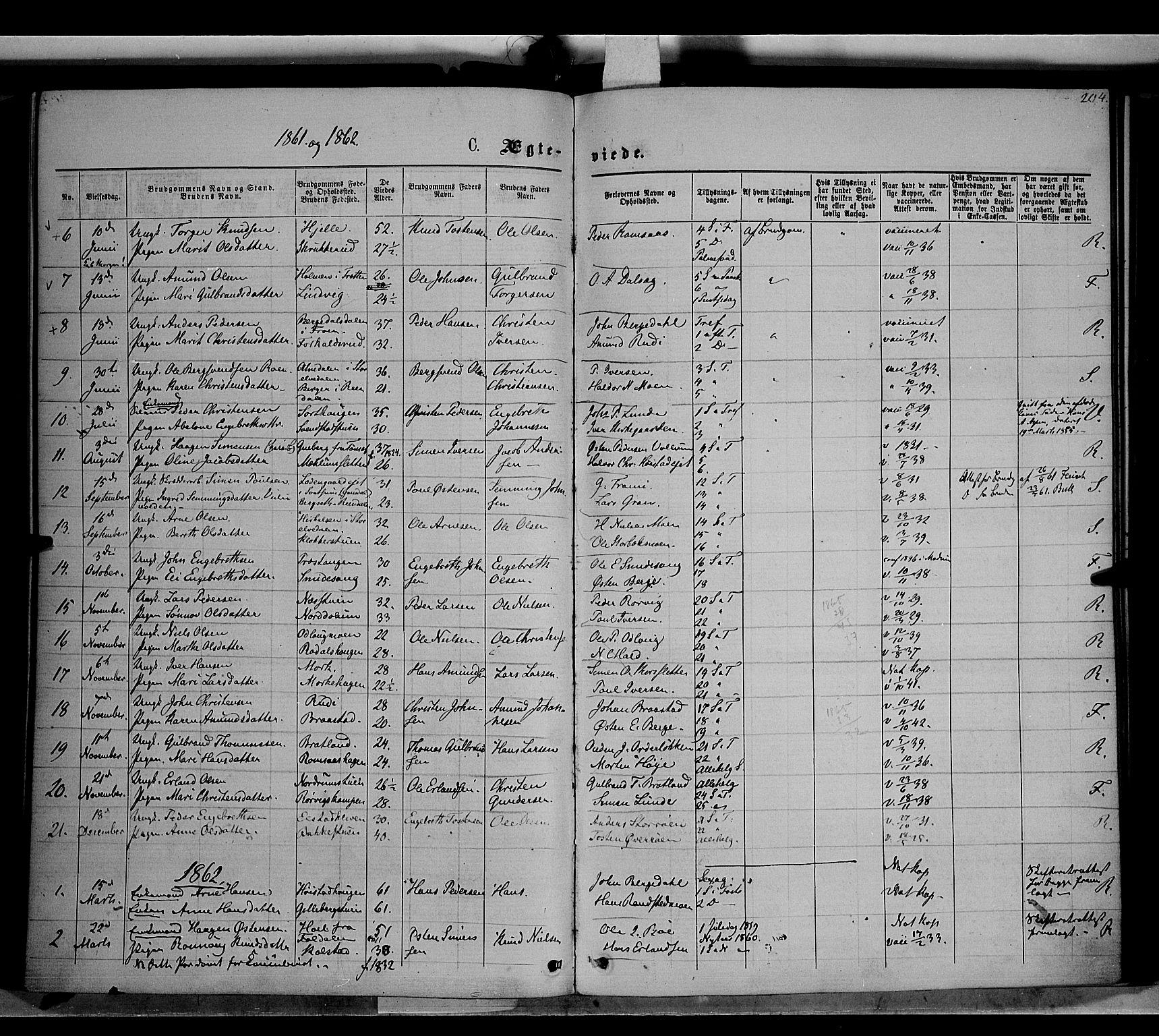 SAH, Ringebu prestekontor, Ministerialbok nr. 7, 1860-1877, s. 204