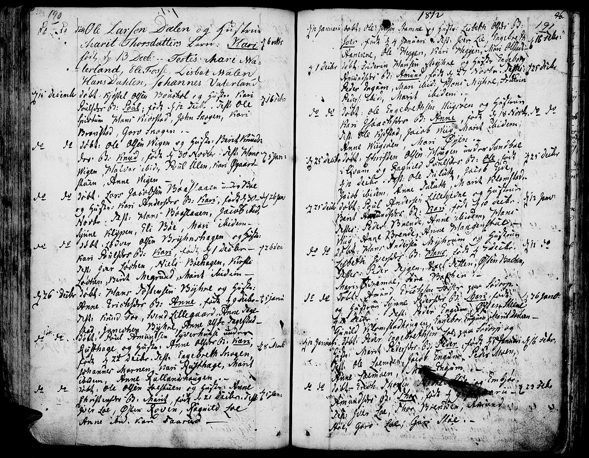 SAH, Fron prestekontor, H/Ha/Haa/L0001: Ministerialbok nr. 1, 1799-1816, s. 190-191