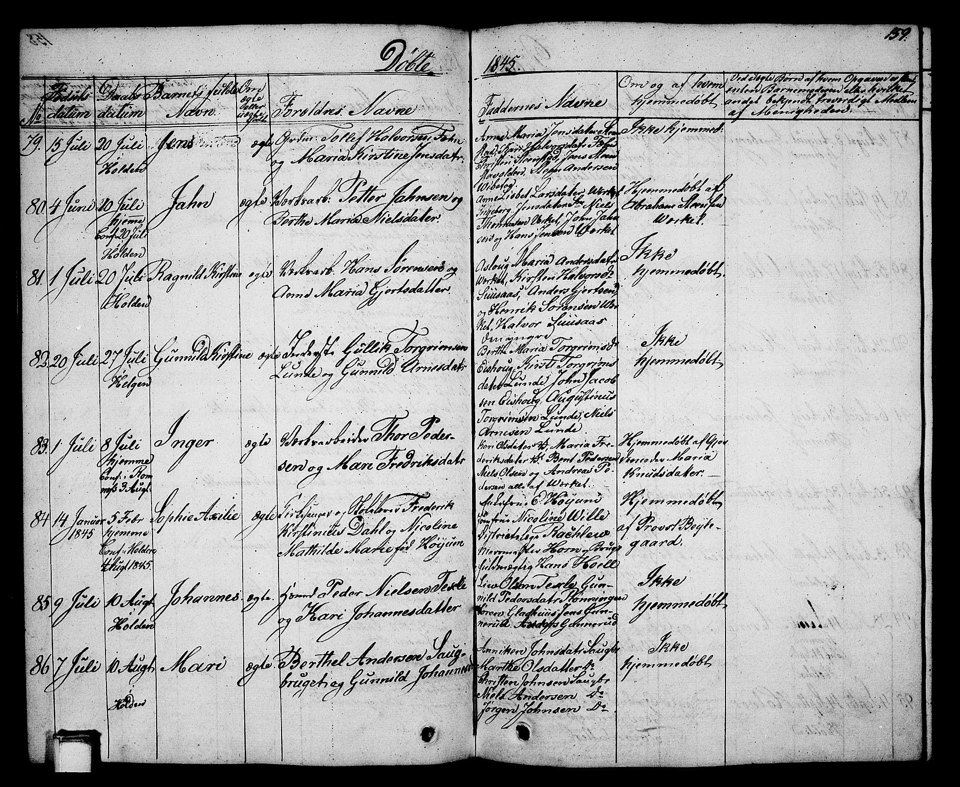 SAKO, Holla kirkebøker, G/Ga/L0002: Klokkerbok nr. I 2, 1830-1848, s. 159