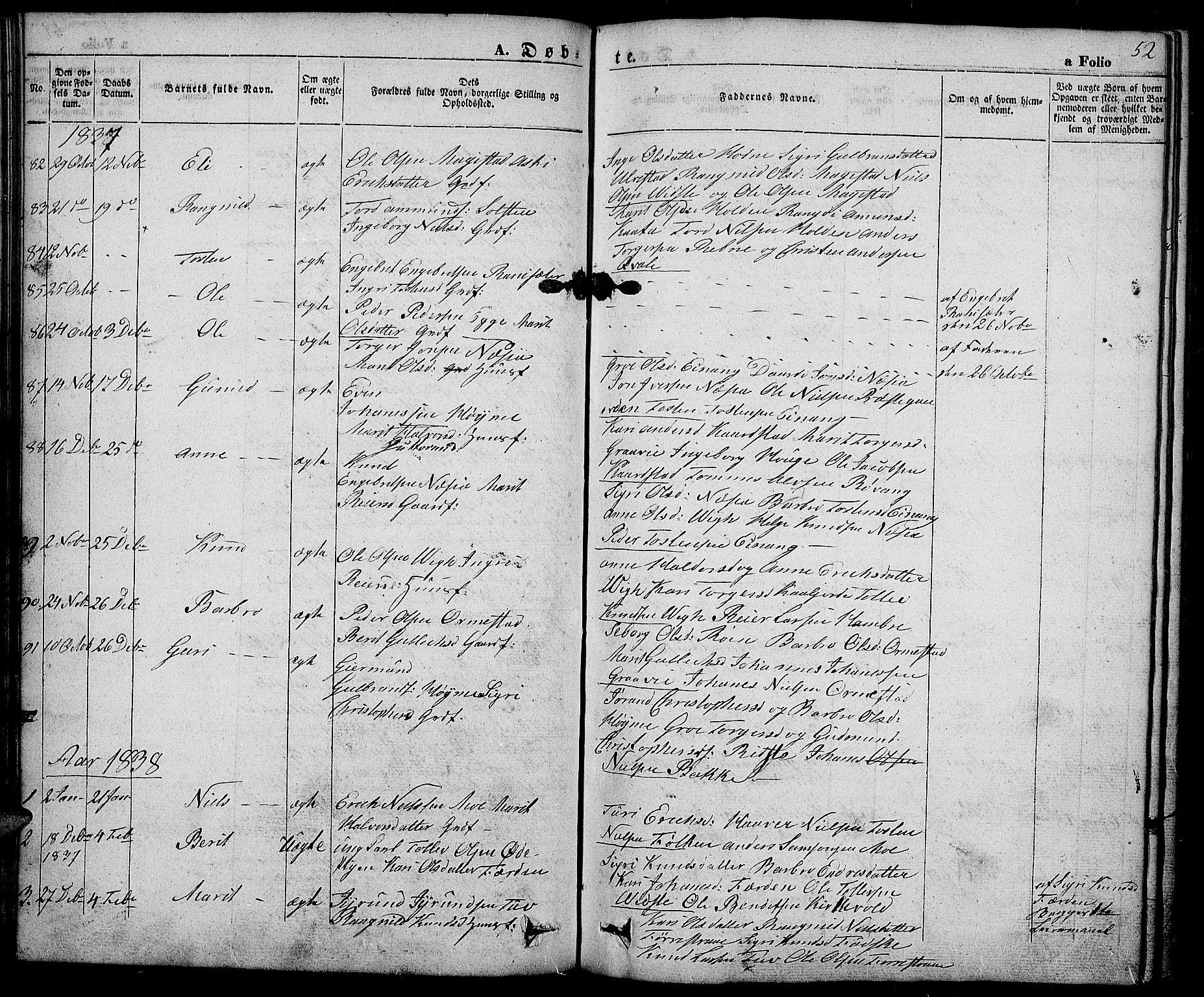 SAH, Slidre prestekontor, Ministerialbok nr. 3, 1831-1843, s. 52