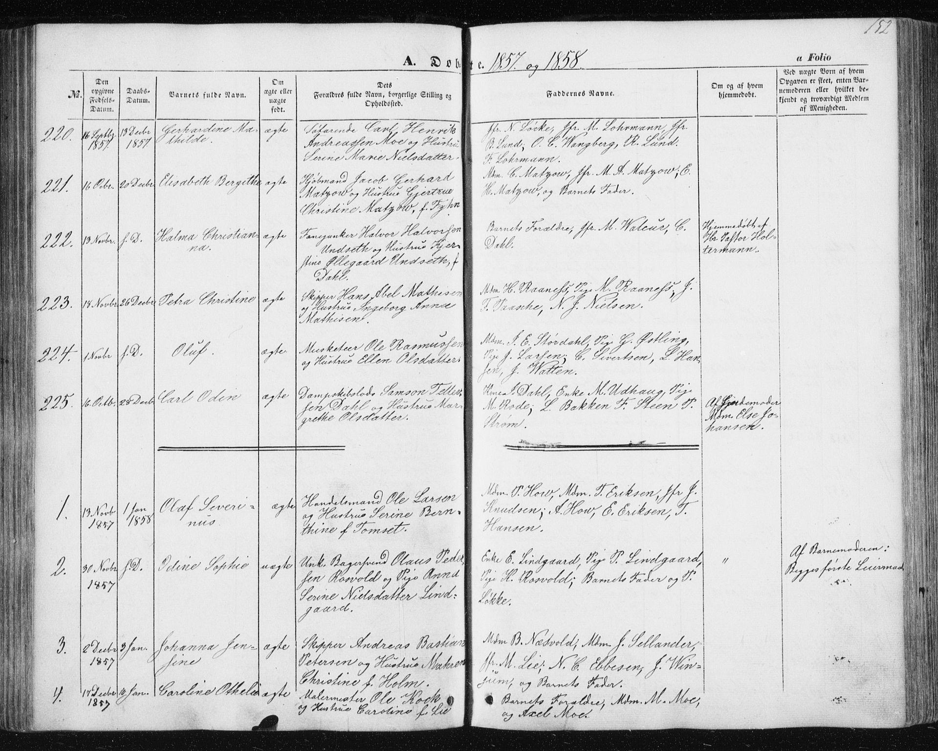 SAT, Ministerialprotokoller, klokkerbøker og fødselsregistre - Sør-Trøndelag, 602/L0112: Ministerialbok nr. 602A10, 1848-1859, s. 152