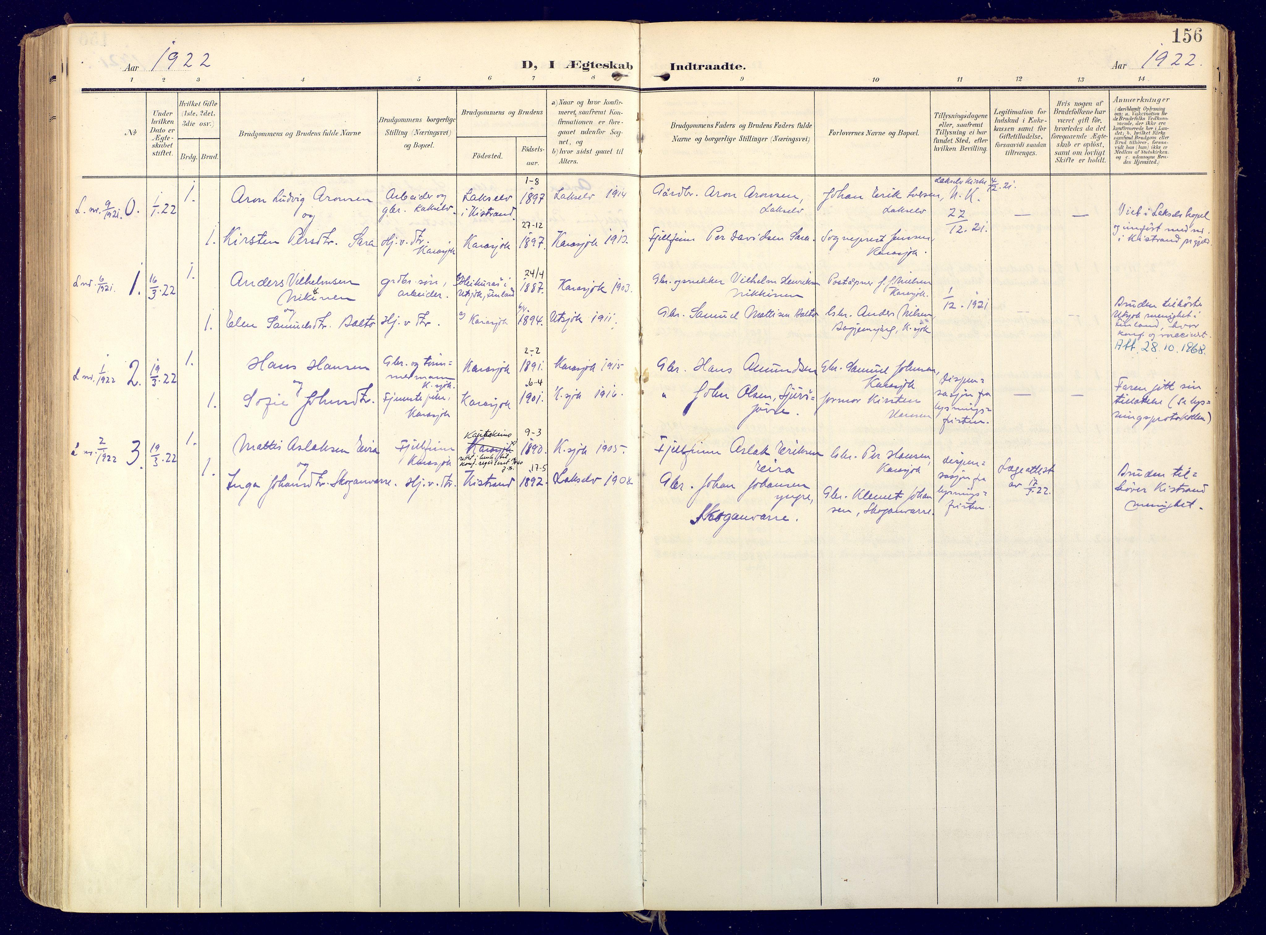 SATØ, Karasjok sokneprestkontor, H/Ha: Ministerialbok nr. 3, 1907-1926, s. 156