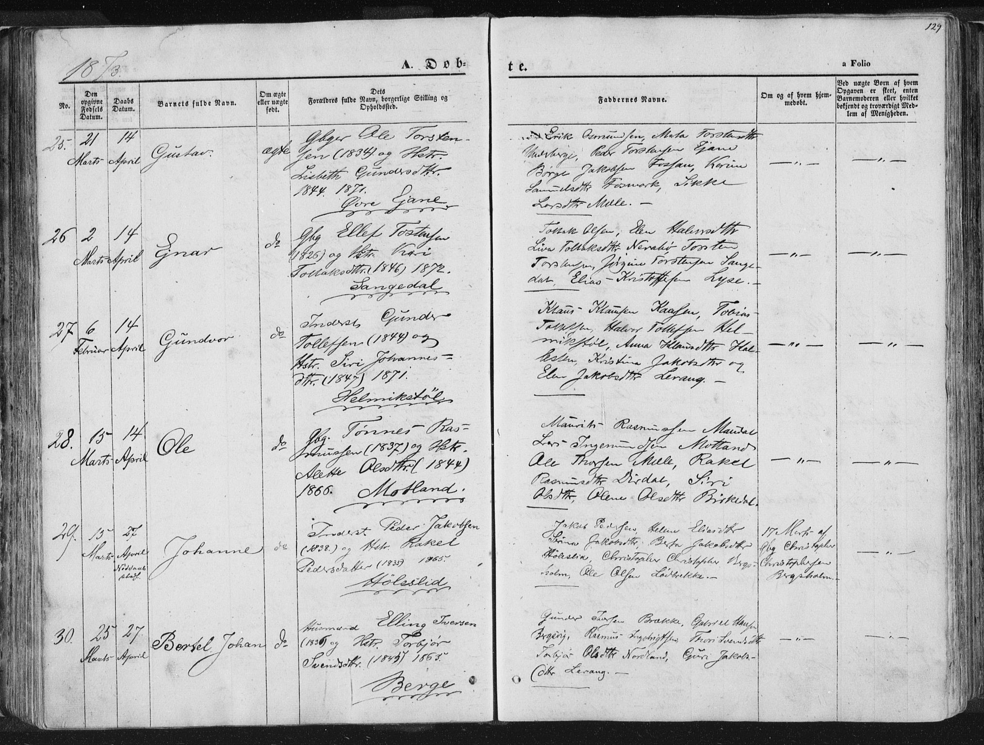 SAST, Høgsfjord sokneprestkontor, H/Ha/Haa/L0001: Ministerialbok nr. A 1, 1854-1875, s. 129
