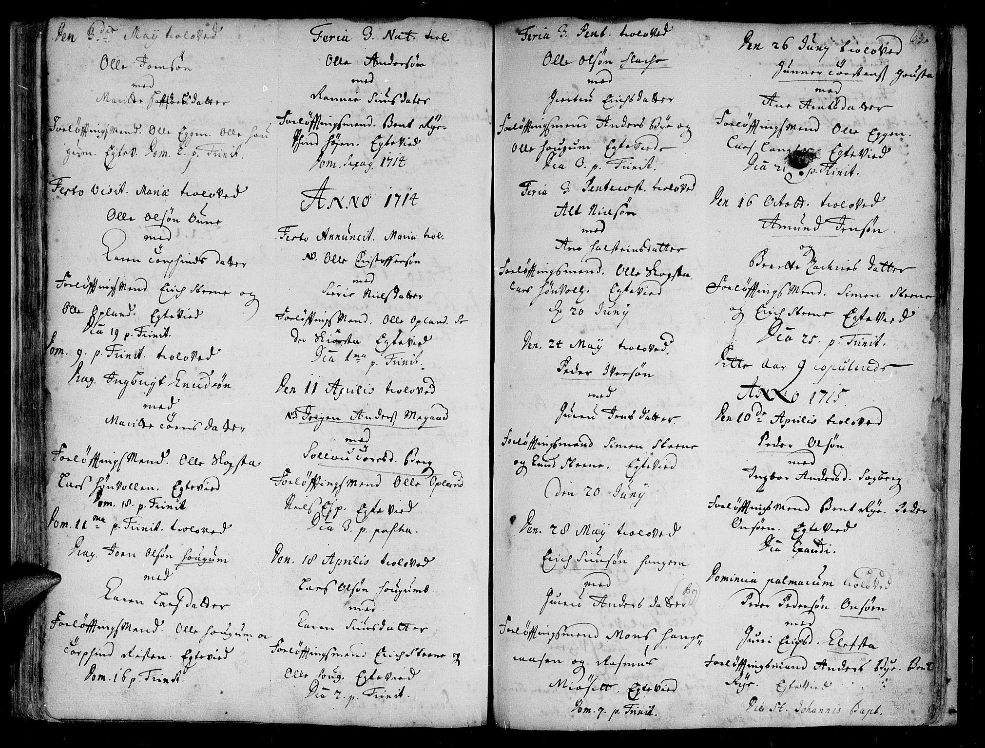 SAT, Ministerialprotokoller, klokkerbøker og fødselsregistre - Sør-Trøndelag, 612/L0368: Ministerialbok nr. 612A02, 1702-1753, s. 62