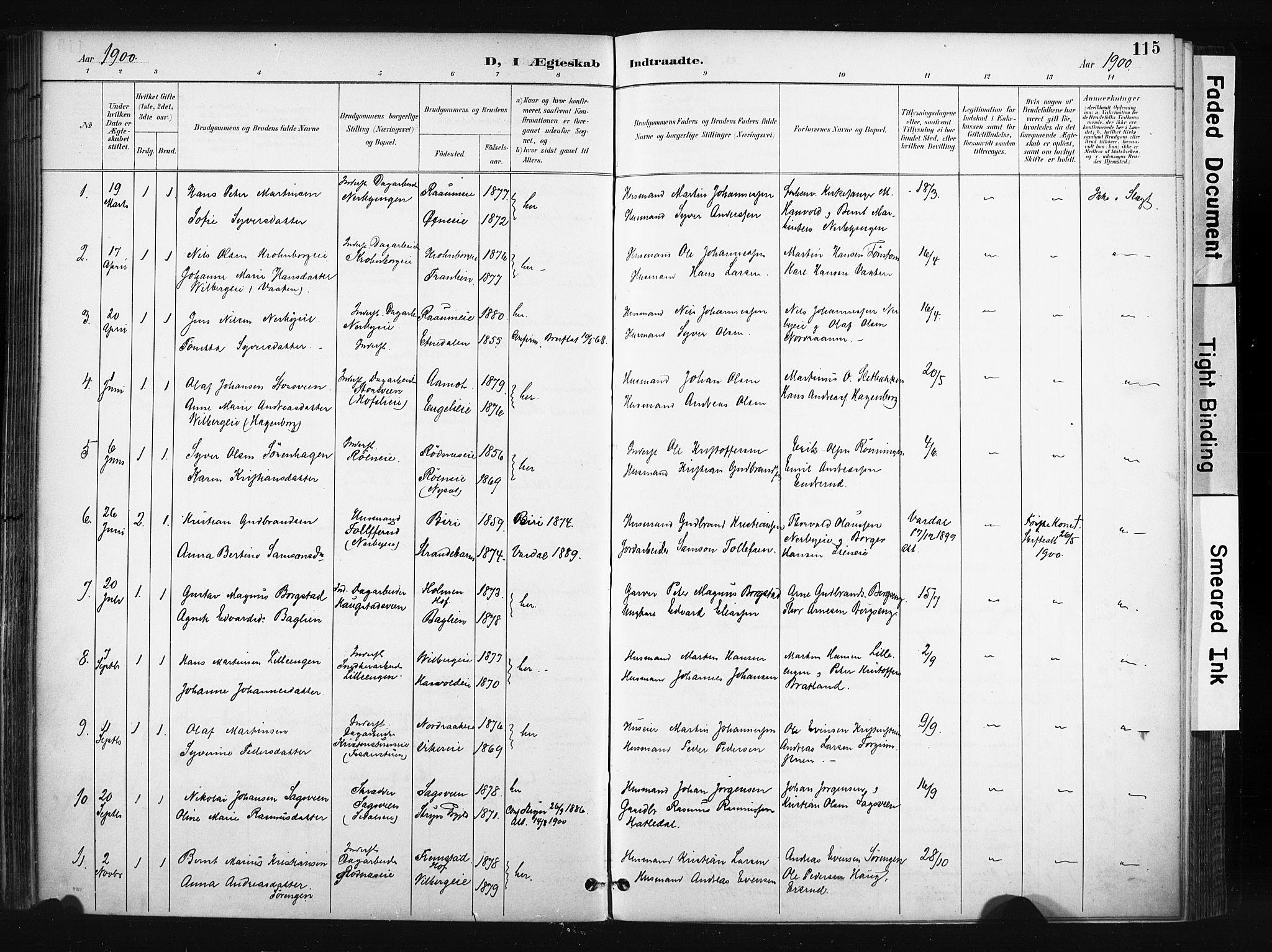 SAH, Søndre Land prestekontor, K/L0004: Ministerialbok nr. 4, 1895-1904, s. 115