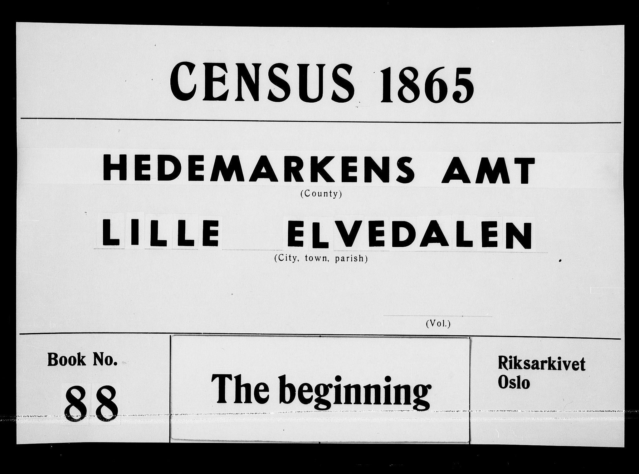 RA, Folketelling 1865 for 0438P Lille Elvedalen prestegjeld, 1865, s. 1
