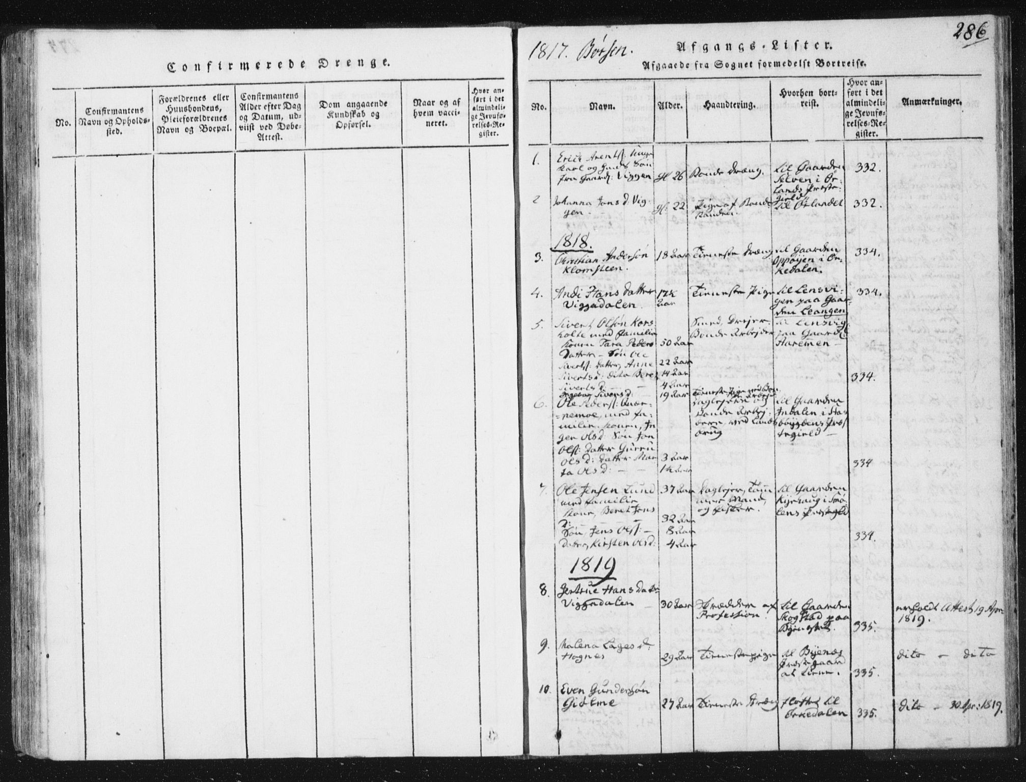 SAT, Ministerialprotokoller, klokkerbøker og fødselsregistre - Sør-Trøndelag, 665/L0770: Ministerialbok nr. 665A05, 1817-1829, s. 286