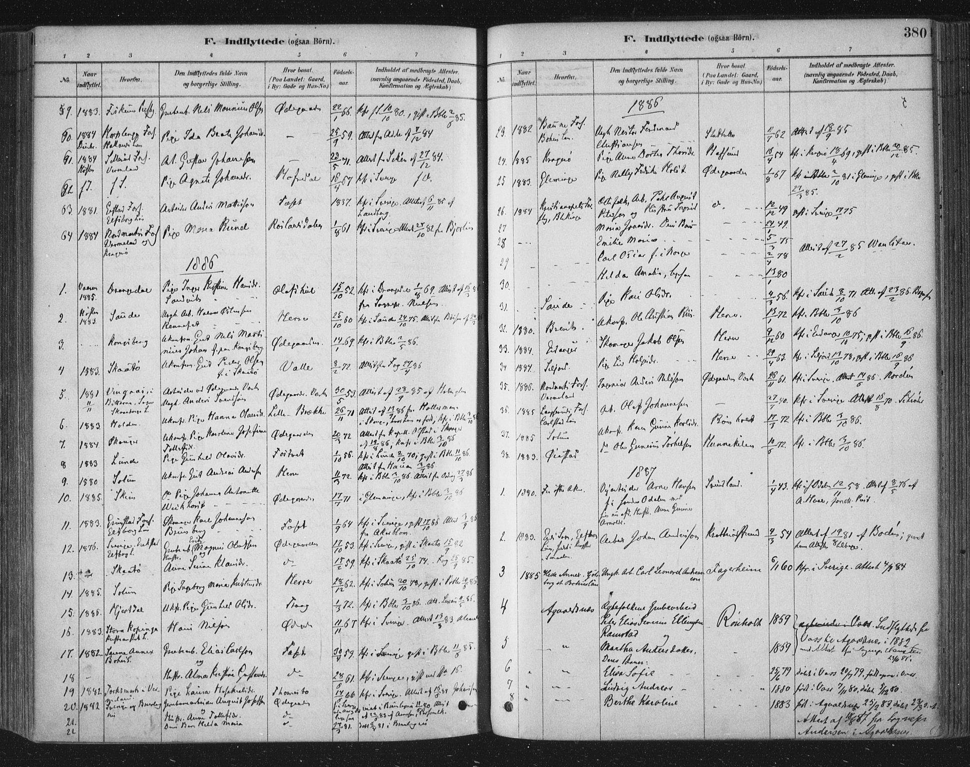 SAKO, Bamble kirkebøker, F/Fa/L0007: Ministerialbok nr. I 7, 1878-1888, s. 380