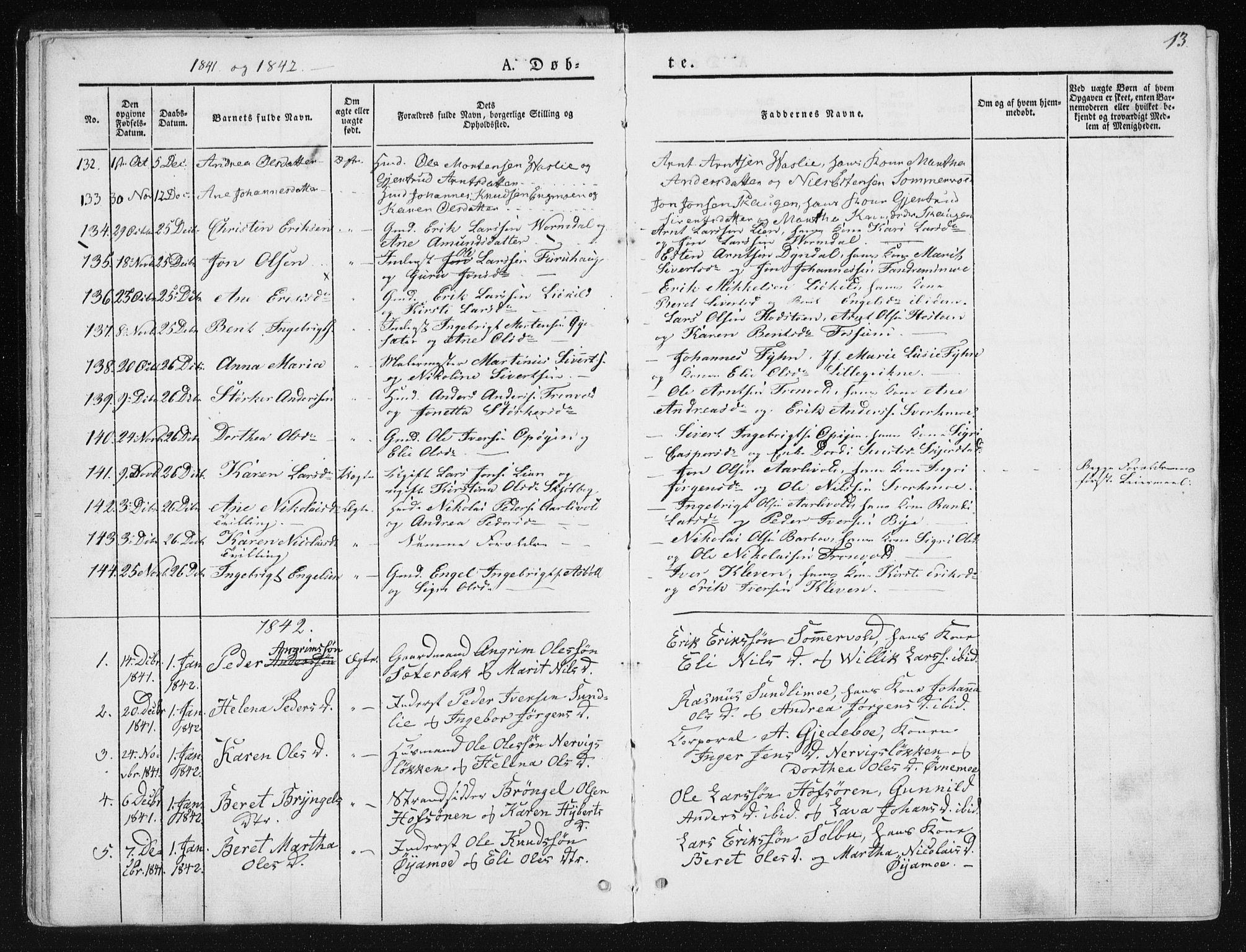 SAT, Ministerialprotokoller, klokkerbøker og fødselsregistre - Sør-Trøndelag, 668/L0805: Ministerialbok nr. 668A05, 1840-1853, s. 13