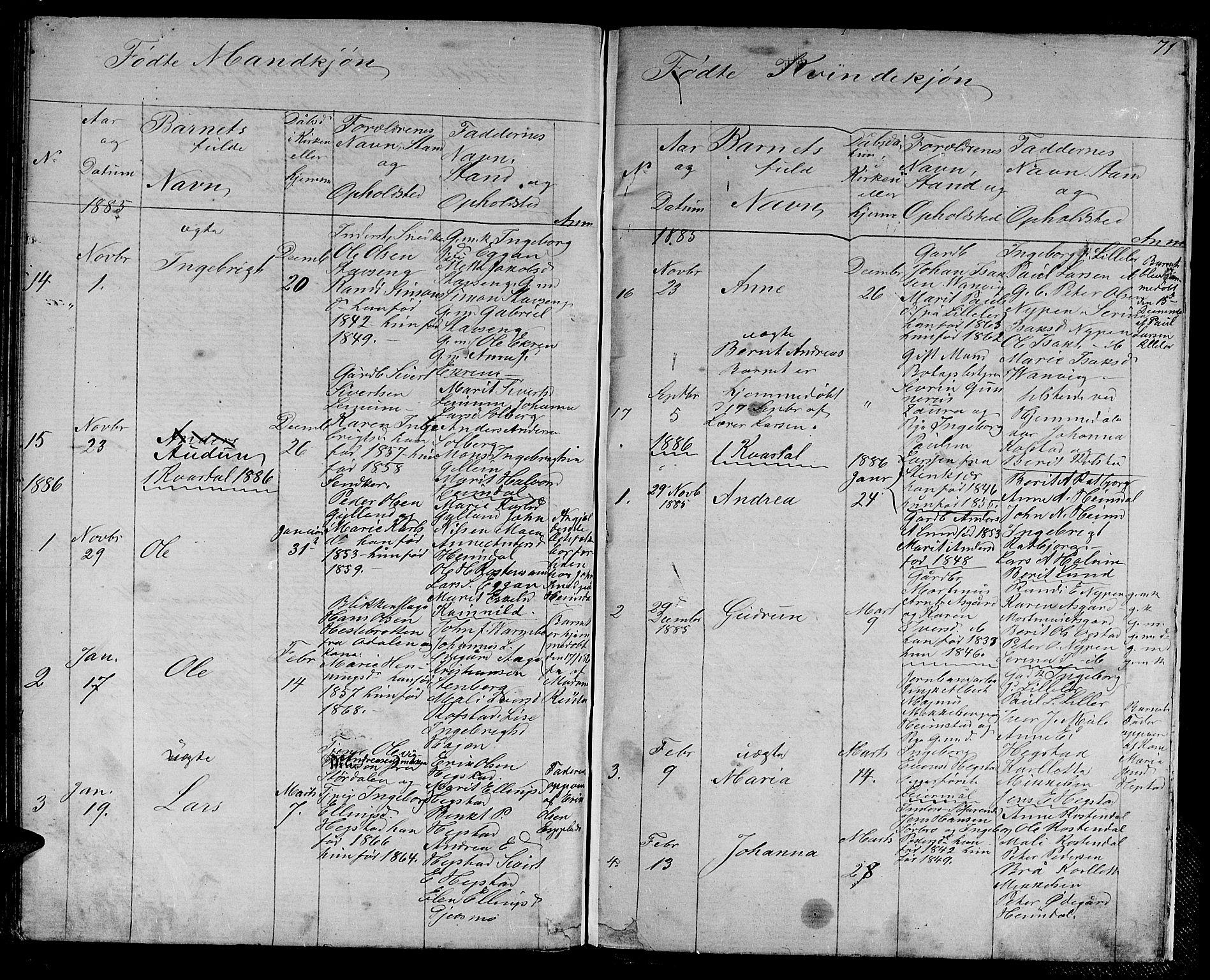 SAT, Ministerialprotokoller, klokkerbøker og fødselsregistre - Sør-Trøndelag, 613/L0394: Klokkerbok nr. 613C02, 1862-1886, s. 71