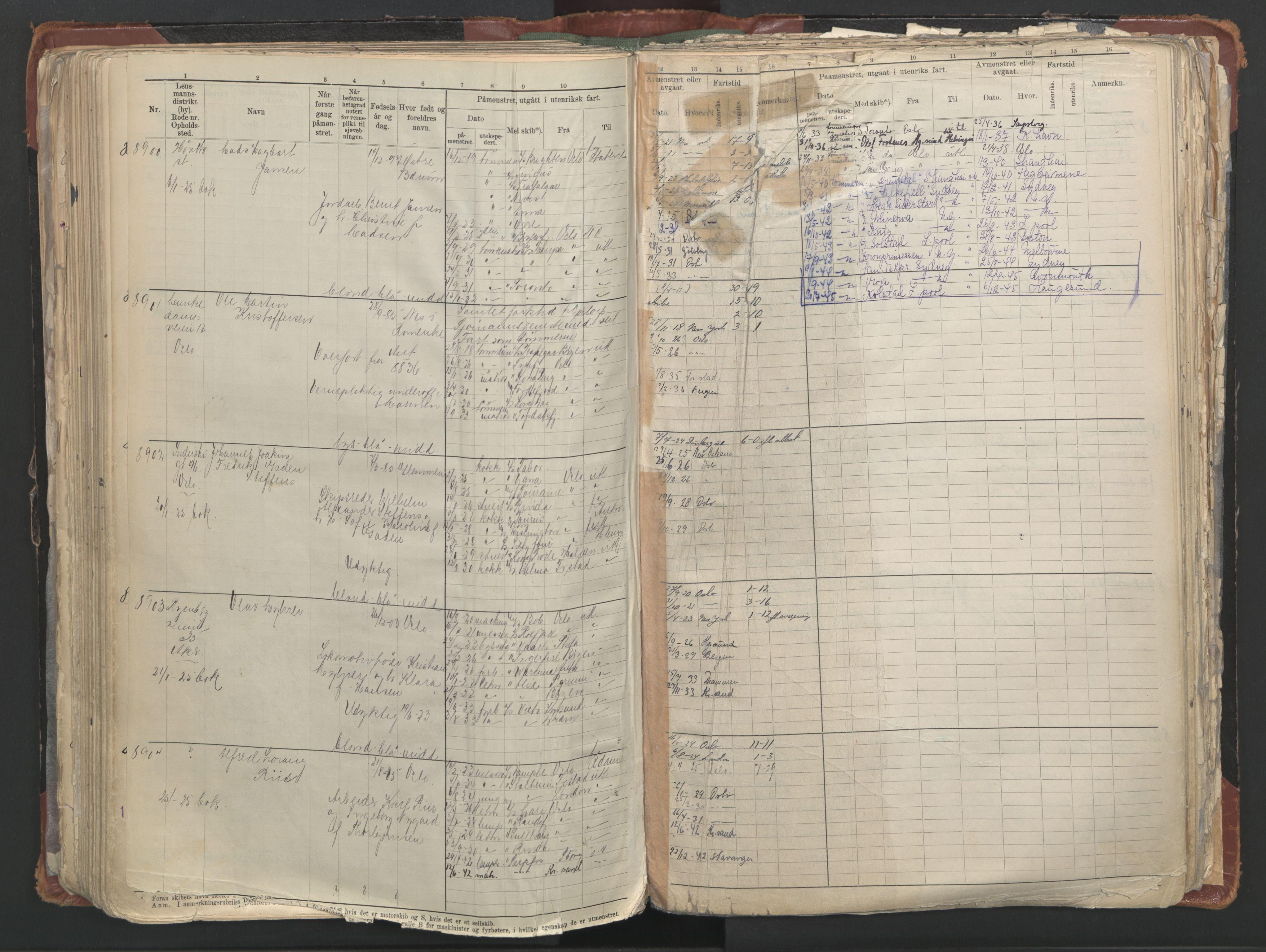 SAO, Oslo sjømannskontor, F/Fc/L0006: Hovedrulle, 1918-1930, s. 272