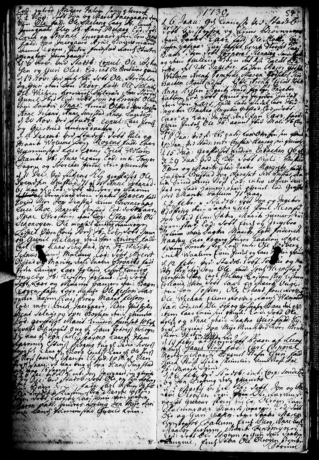 SAT, Ministerialprotokoller, klokkerbøker og fødselsregistre - Sør-Trøndelag, 646/L0603: Ministerialbok nr. 646A01, 1700-1734, s. 59