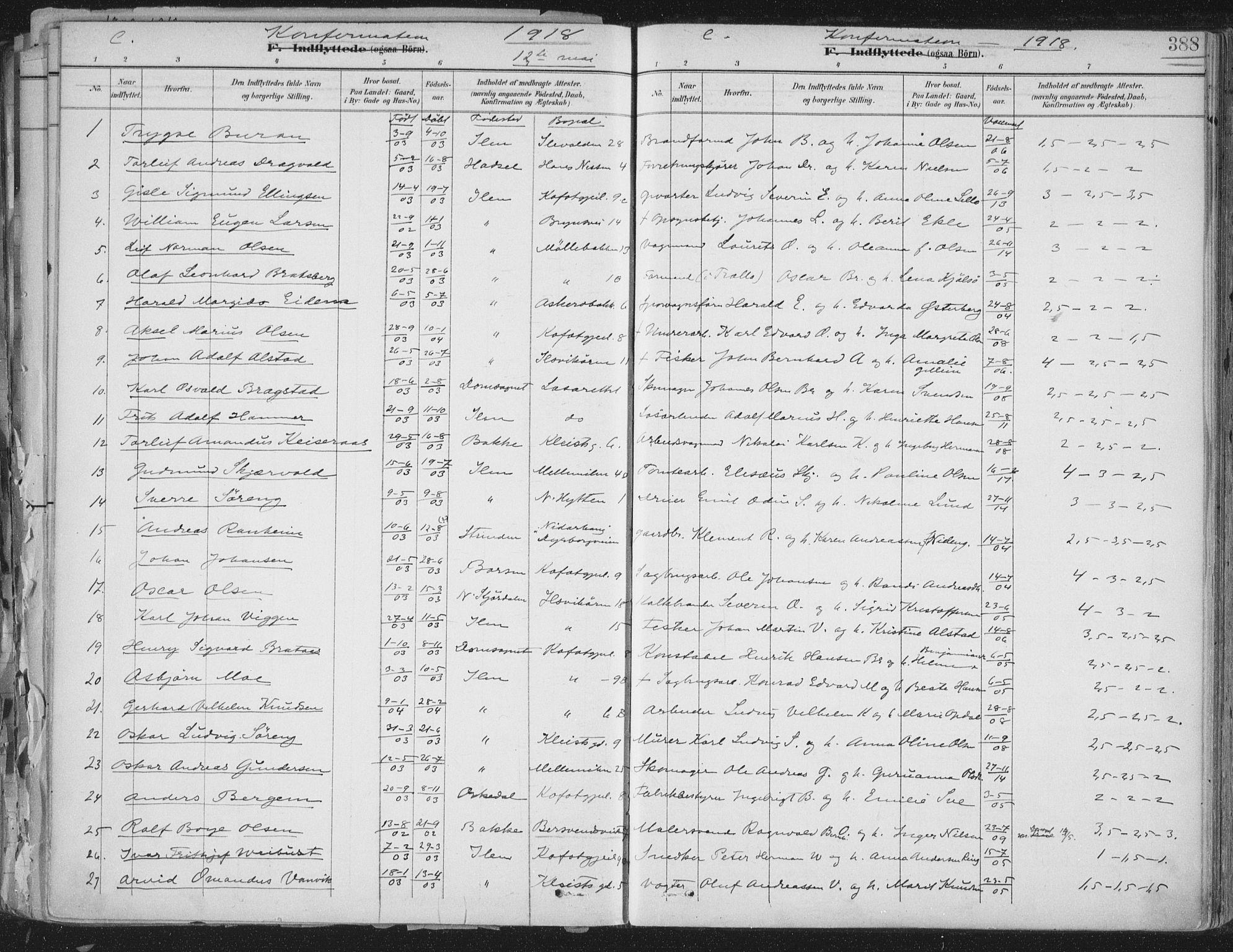 SAT, Ministerialprotokoller, klokkerbøker og fødselsregistre - Sør-Trøndelag, 603/L0167: Ministerialbok nr. 603A06, 1896-1932, s. 388