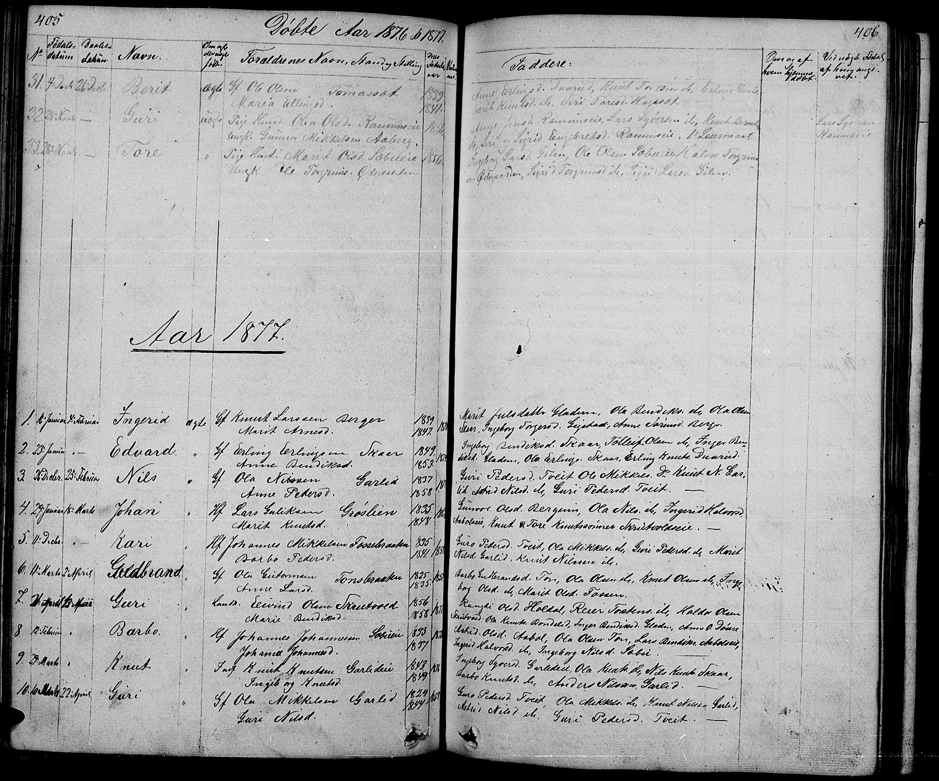 SAH, Nord-Aurdal prestekontor, Klokkerbok nr. 1, 1834-1887, s. 405-406