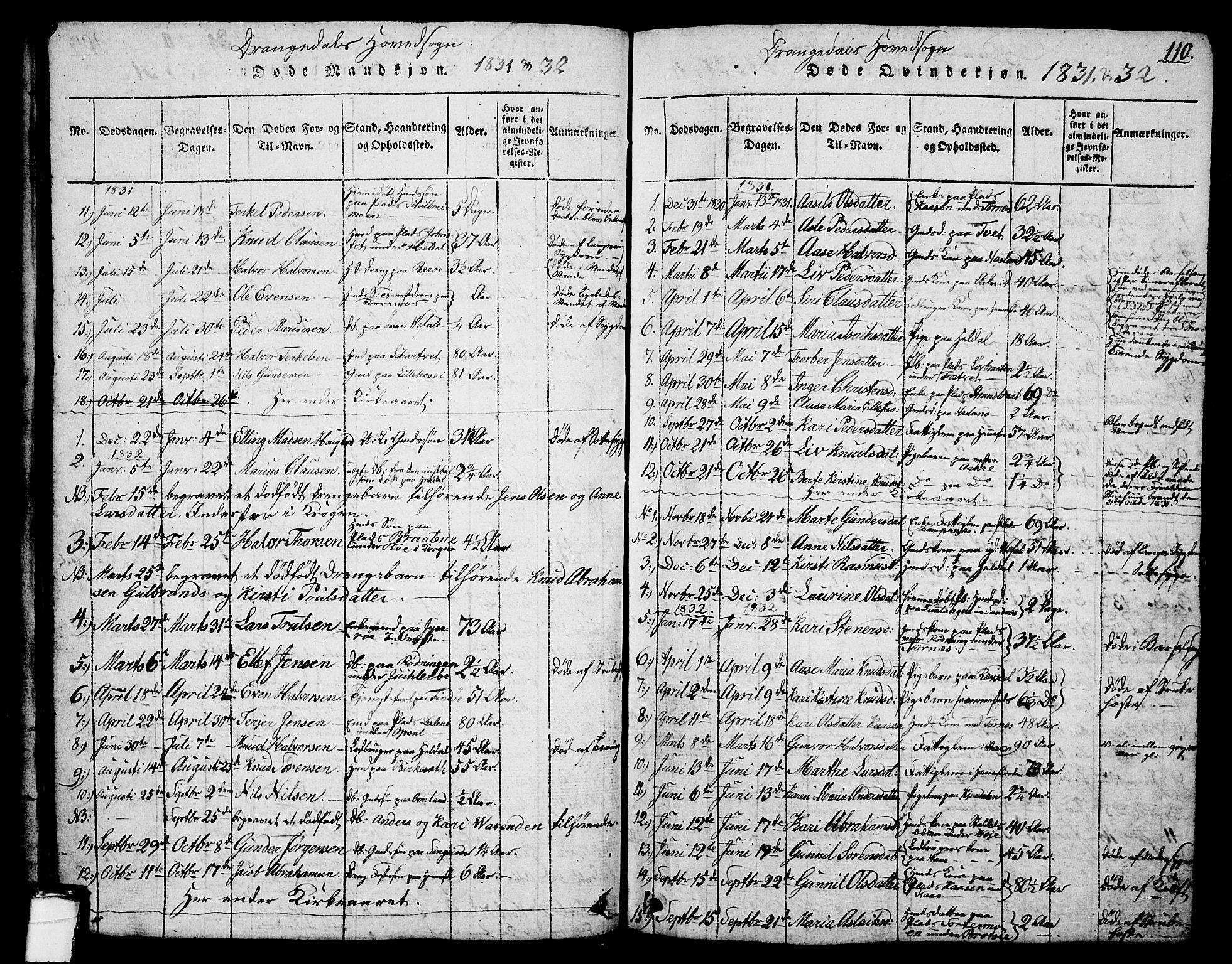 SAKO, Drangedal kirkebøker, G/Ga/L0001: Klokkerbok nr. I 1 /1, 1814-1856, s. 110