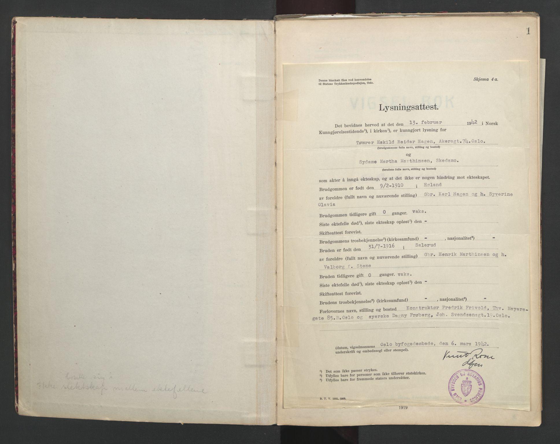 SAO, Nedre Romerike sorenskriveri, L/Lb/L0002: Vigselsbok - borgerlige vielser, 1935-1942, s. upaginert